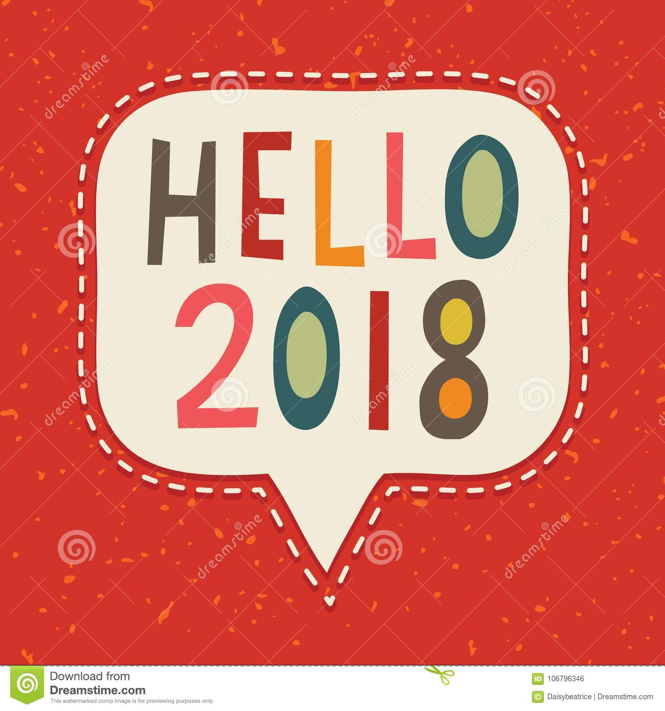 hello 2018 typographic new year card vintage on red stock vector