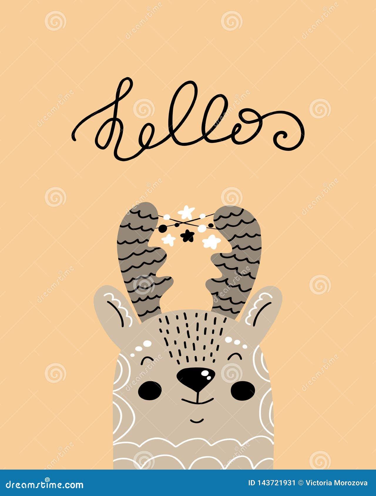 Hello - utdragen barnkammareaffisch för gullig hand med hjortar och bokstäver för tecknad filmtecken djura i scandinavian stil