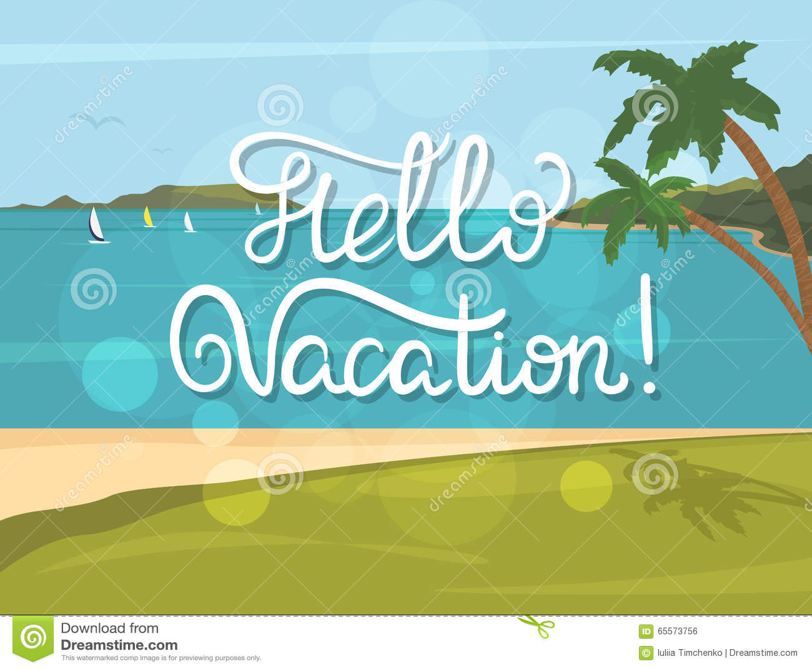 Hello Vacation Banner Stock Vector. Illustration Of