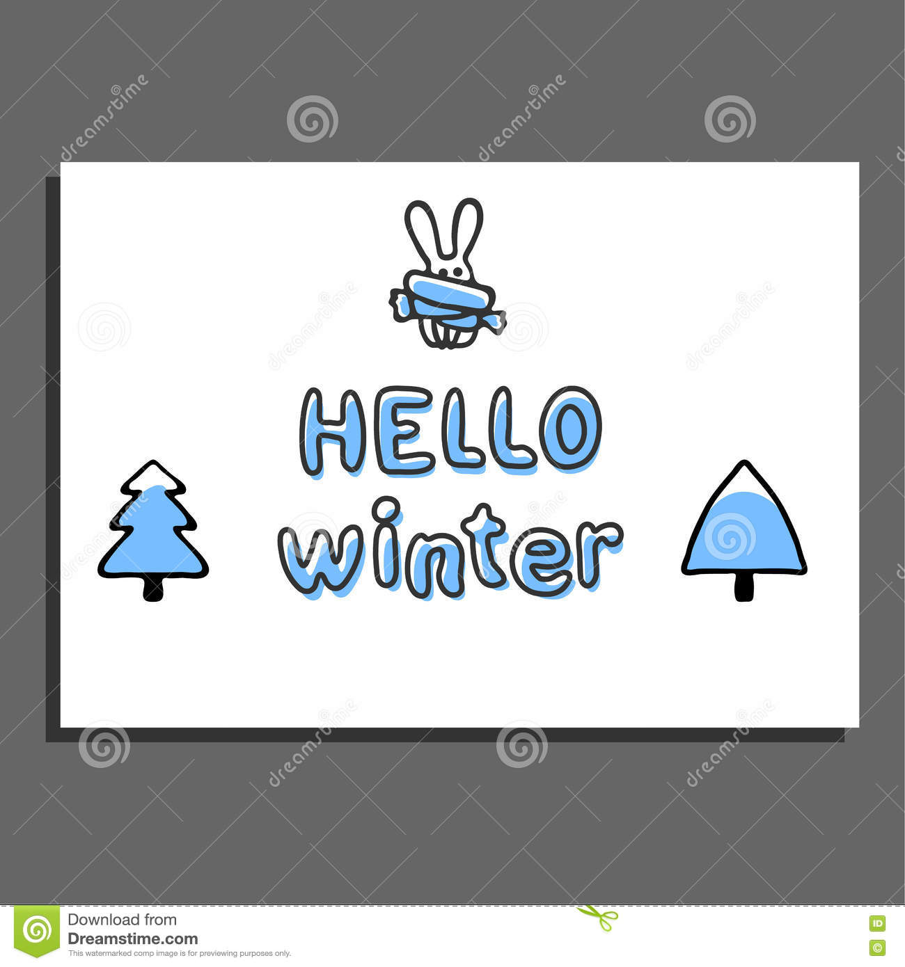 Hello Winter Greeting Card With Cute Hare Stock Vector