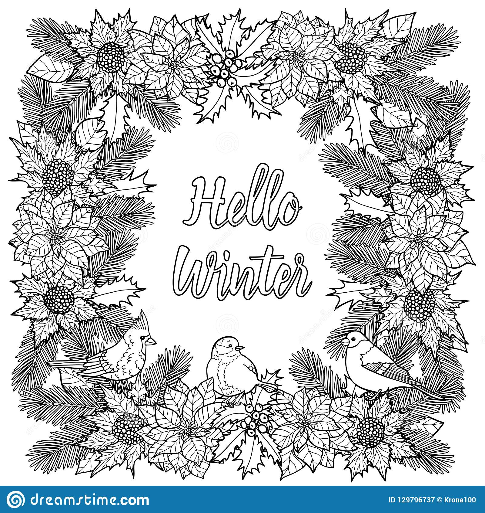 Hello Winter Greeting Coloring Page With Natural Frame And Birds