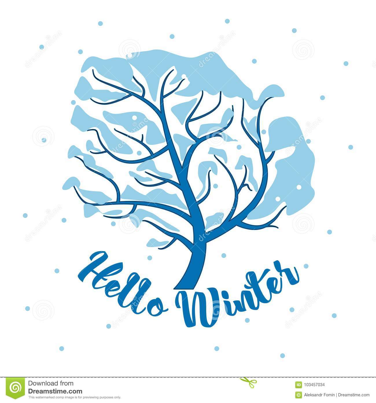 Hello Winter Inscription Greeting Card Background With Fir Tree ...