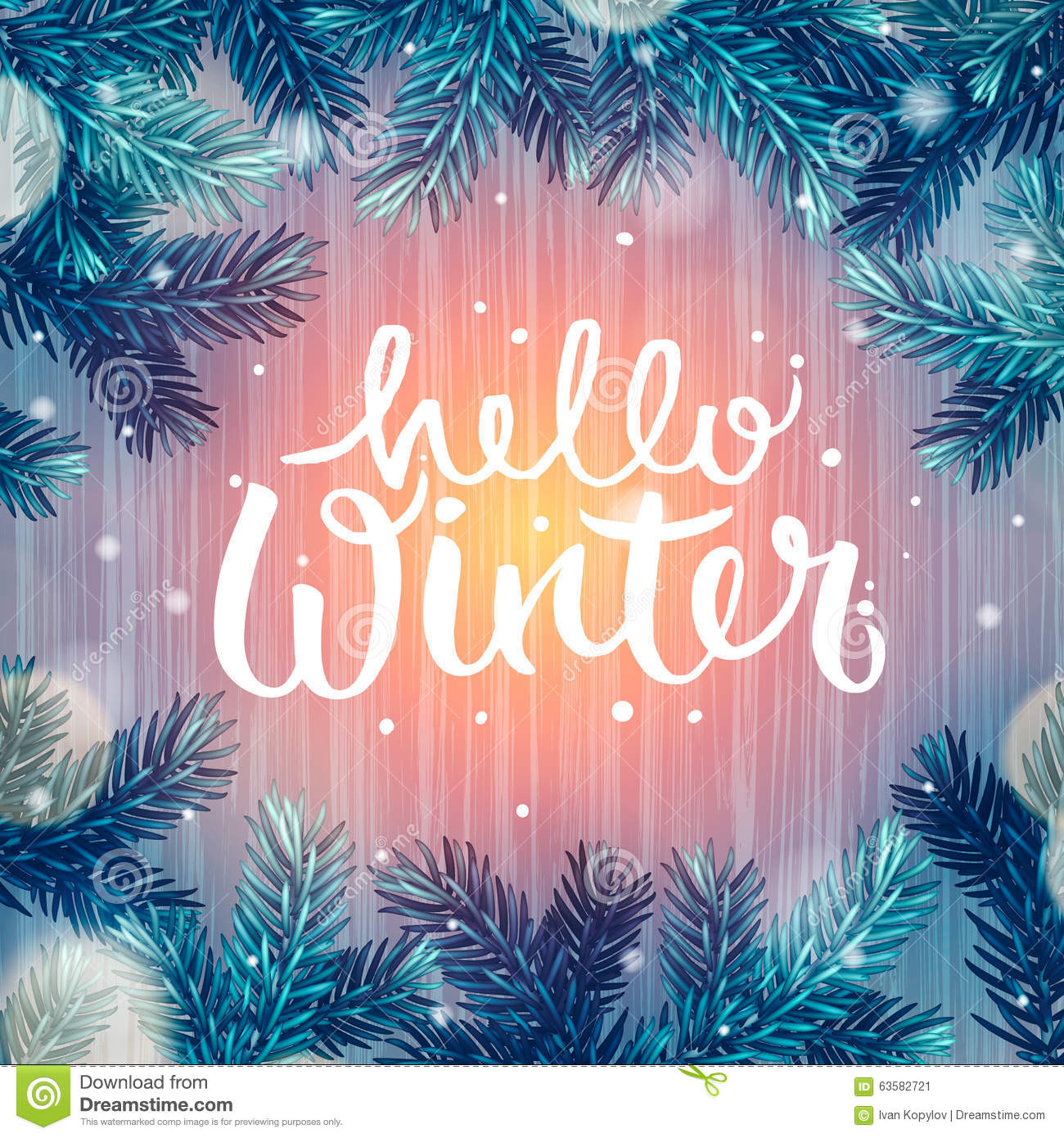 Hello Winter Holiday Background Christmas Stock Vector