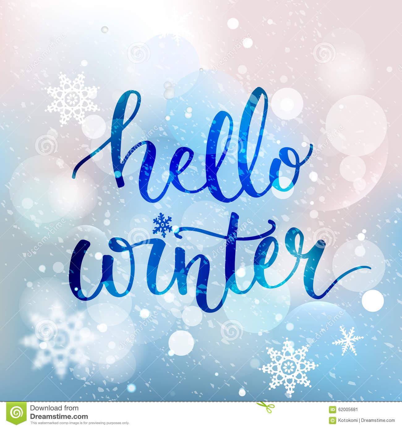 hello winter text brush lettering at blue winter stock vector image 62005681 Falling Snowflakes Clip Art free pictures of snowflakes clipart
