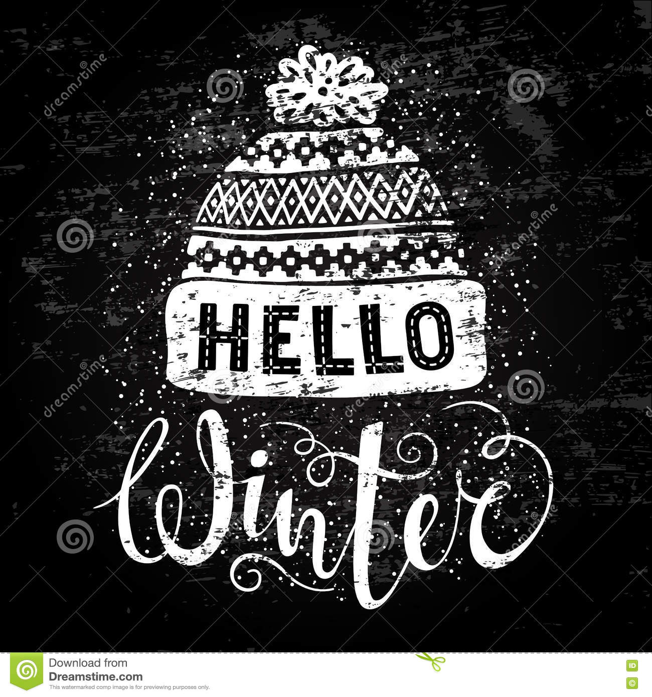 Hello Winter Text And Knitted Woolen Cap Seasonal Shopping Concept