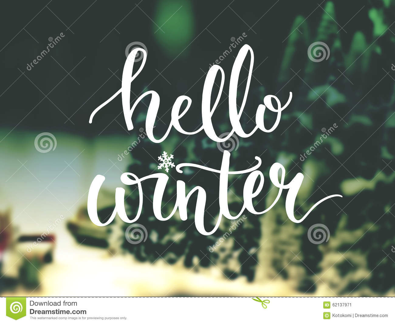 hello winter typography overlay on blurred photo stock image