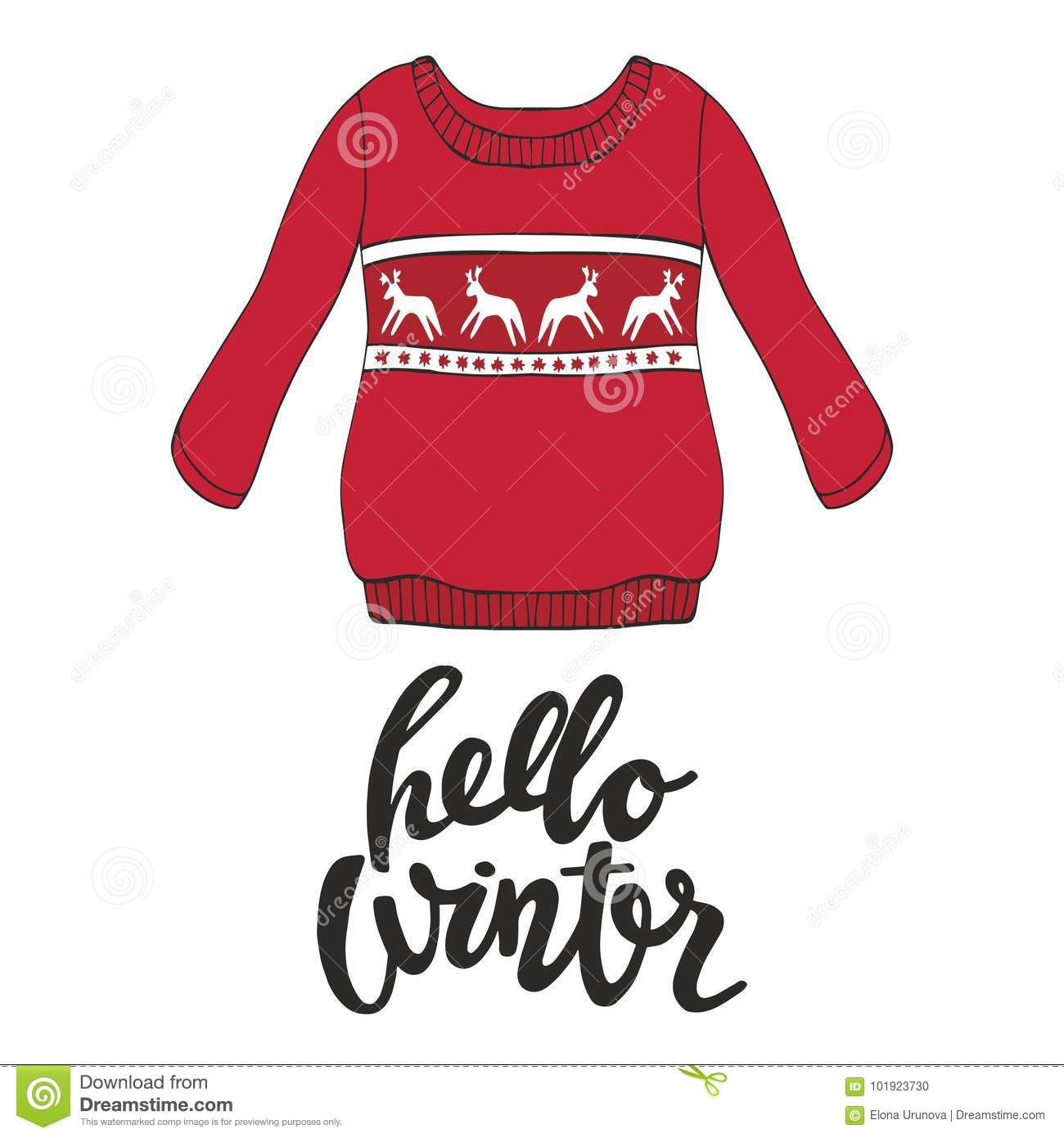 8f00e1bd762e Hello Winter. Vector Illustration With A Red Pullover For Design And ...
