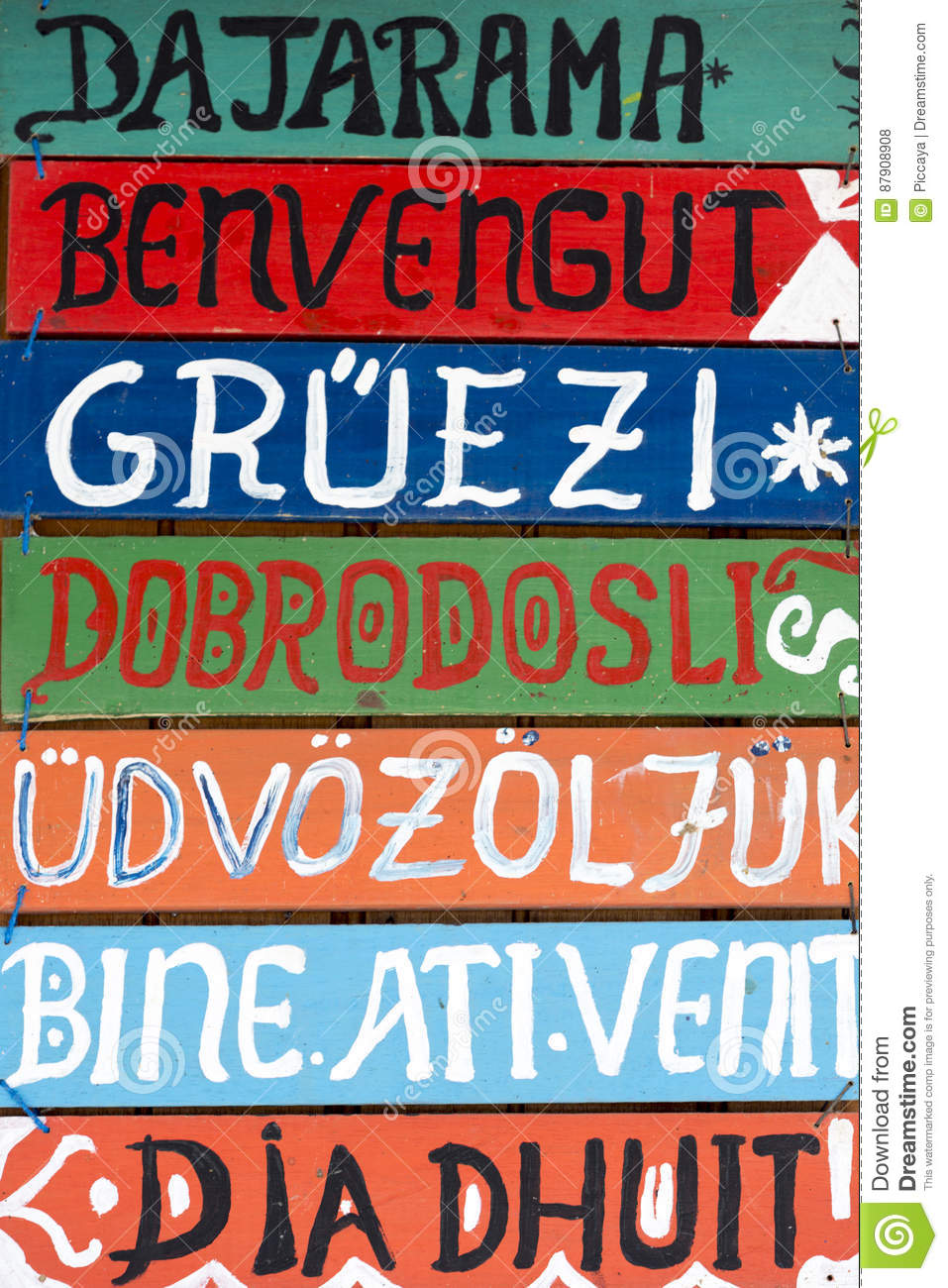Hello Wooden Signs In Various Languages Stock Photo Image Of