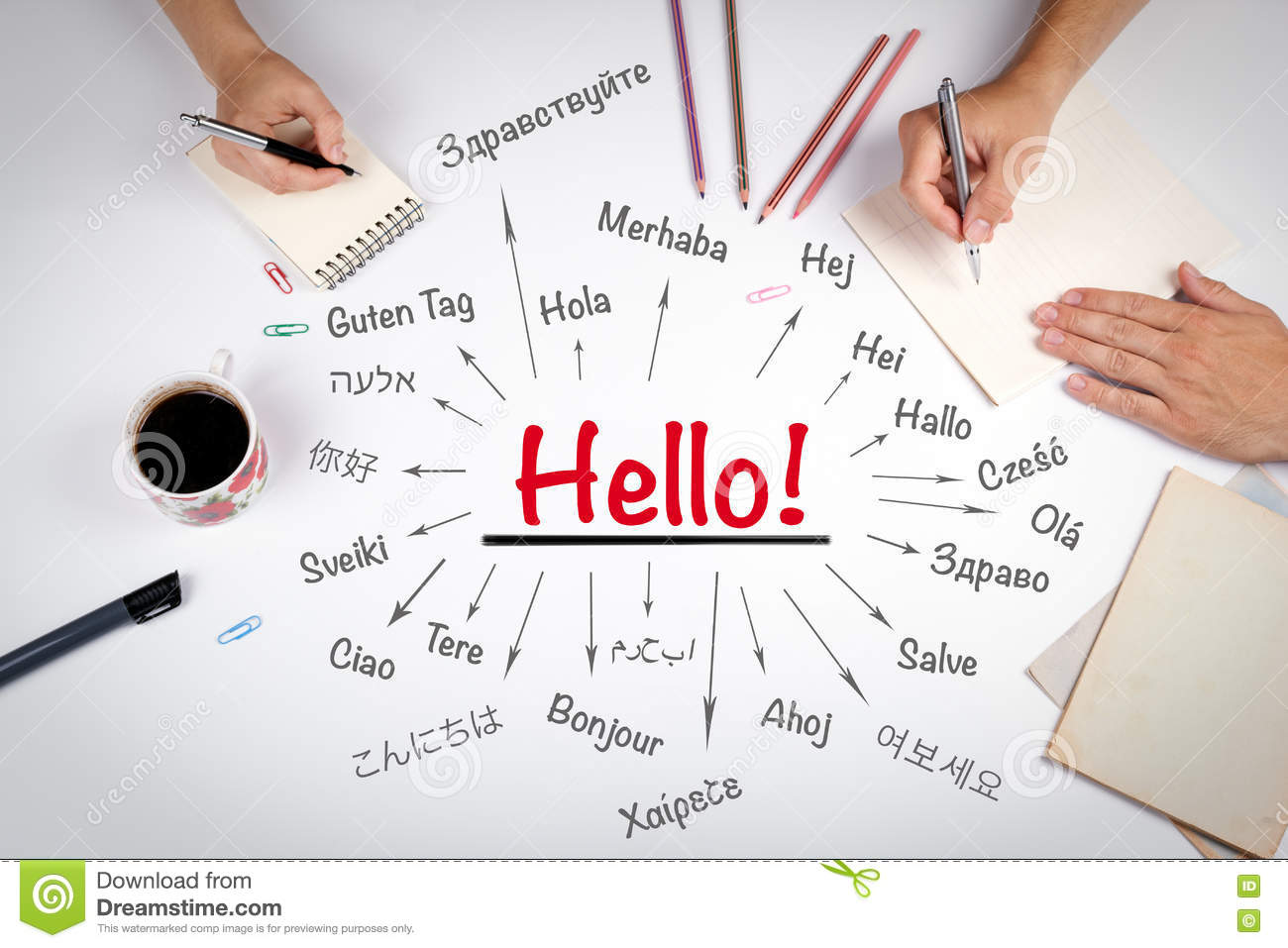 Hello Word In Different Languages Stock Illustration Illustration