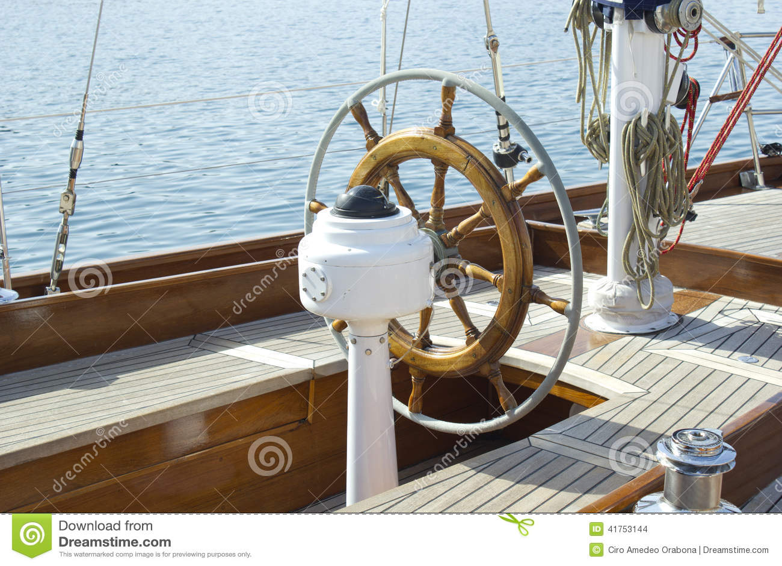Helm sailboat stock photo. Image of transportation, teak ...