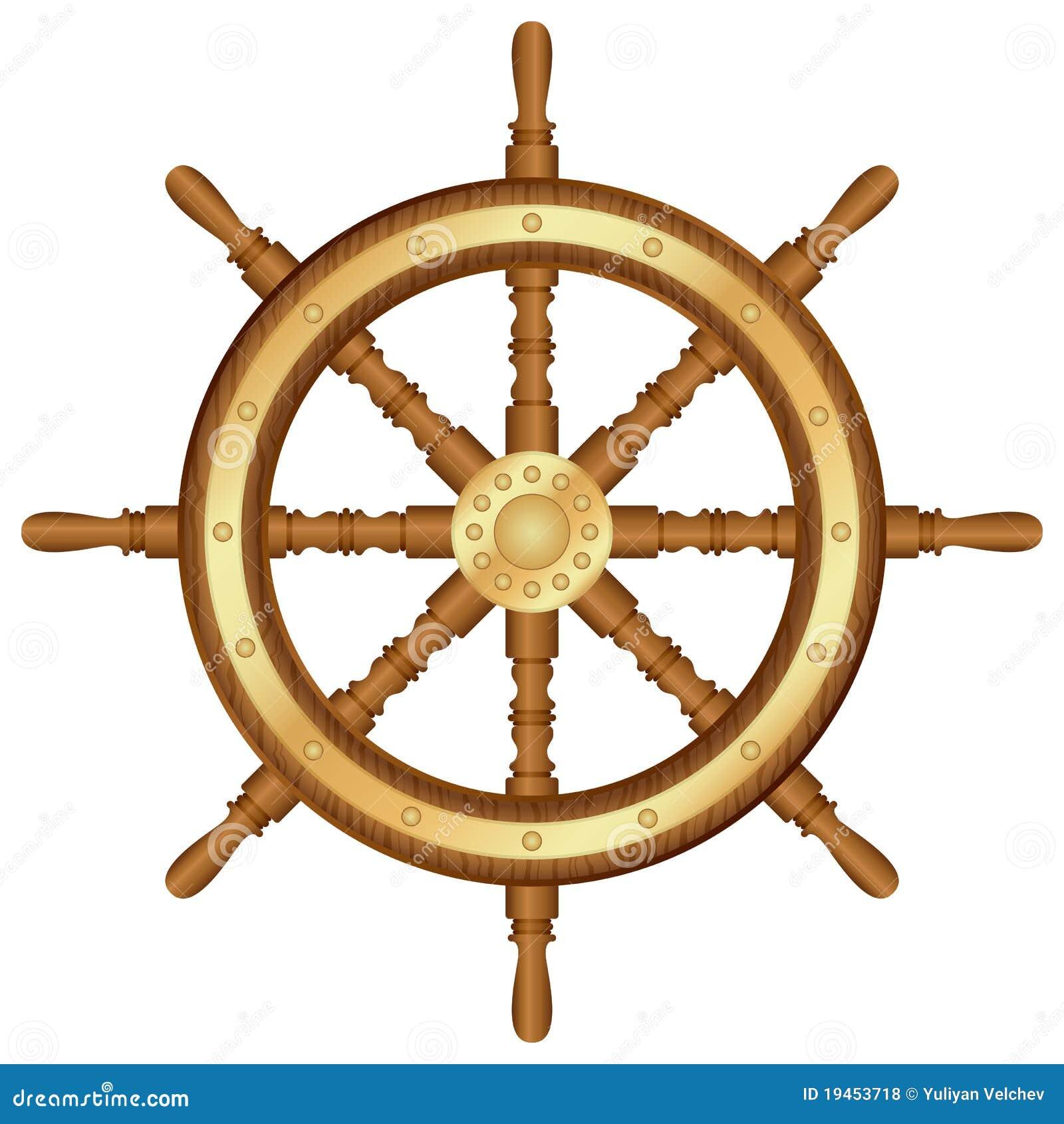 Helm wheel stock vector. Image of wooden, helm, white - 19453718