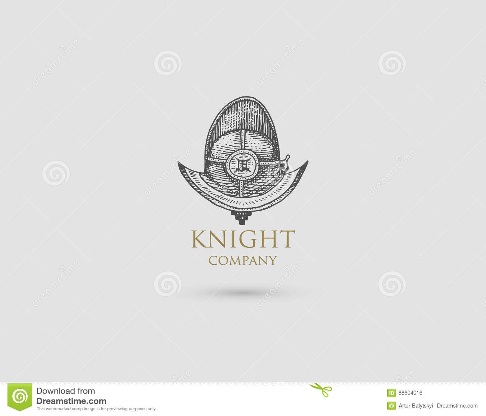 Helmet Logo Medieval Knight Antique Vintage Symbol Engraved Hand