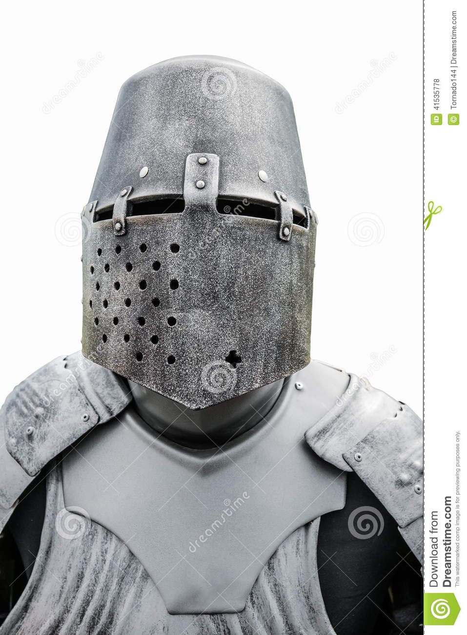 helmet and plate armor of the medieval knight stock photo