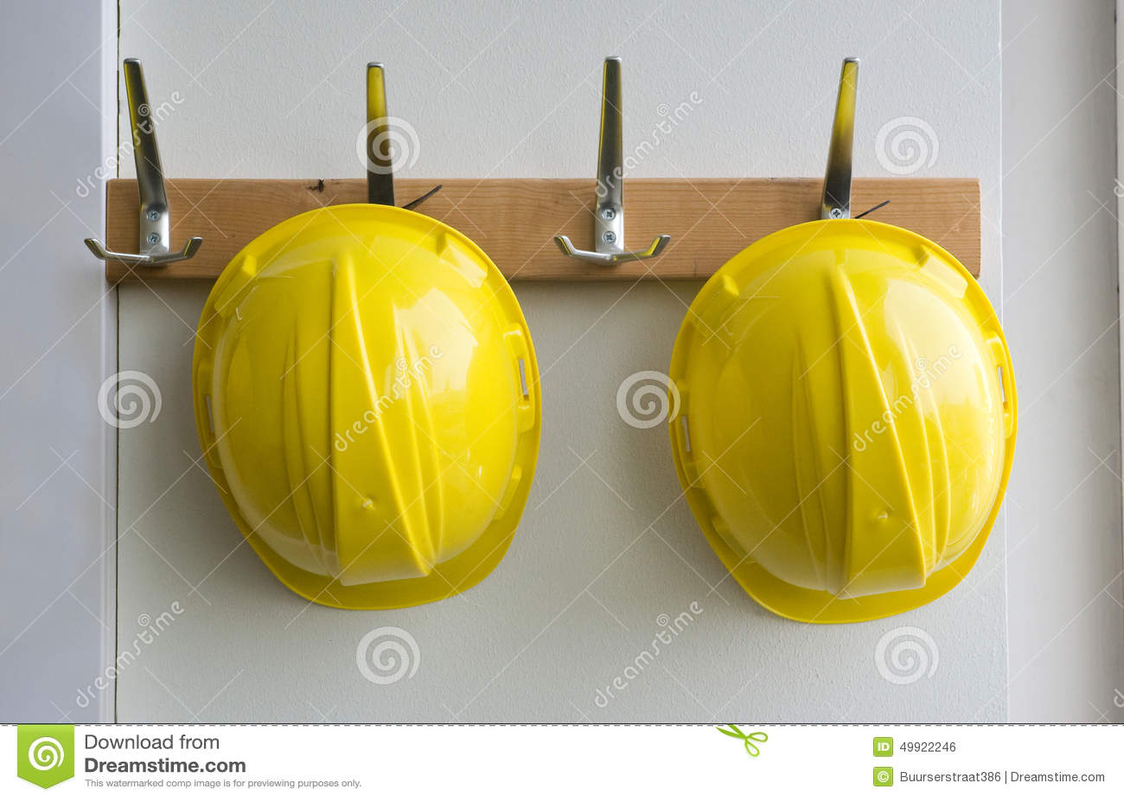 Helmets On Coat Hangers Stock Photo Image Of Occupation