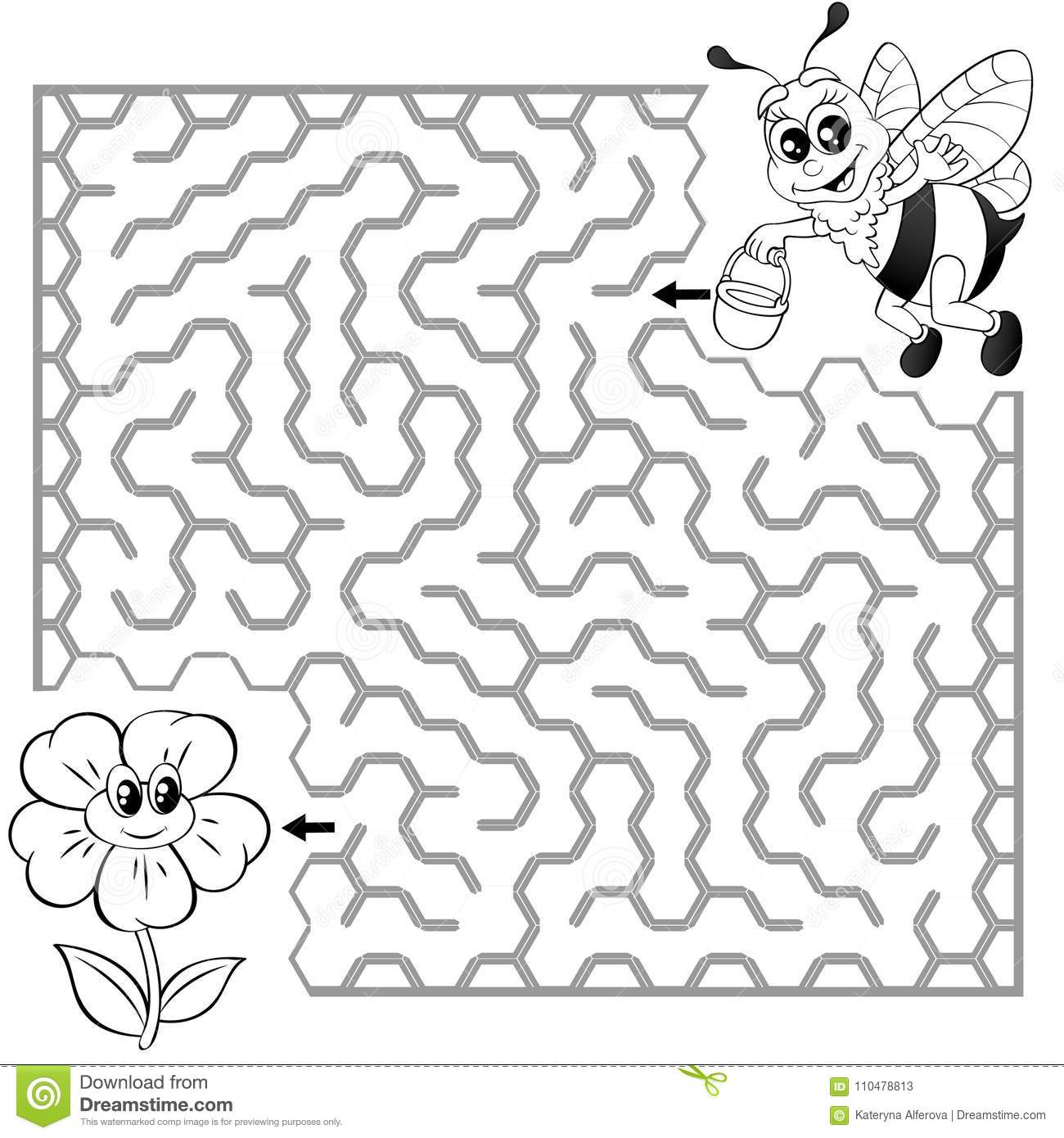 Help Bee Find Path To Flower Labyrinth Maze Game For Kids Black And White Vector Illustration Coloring Book Royalty Free