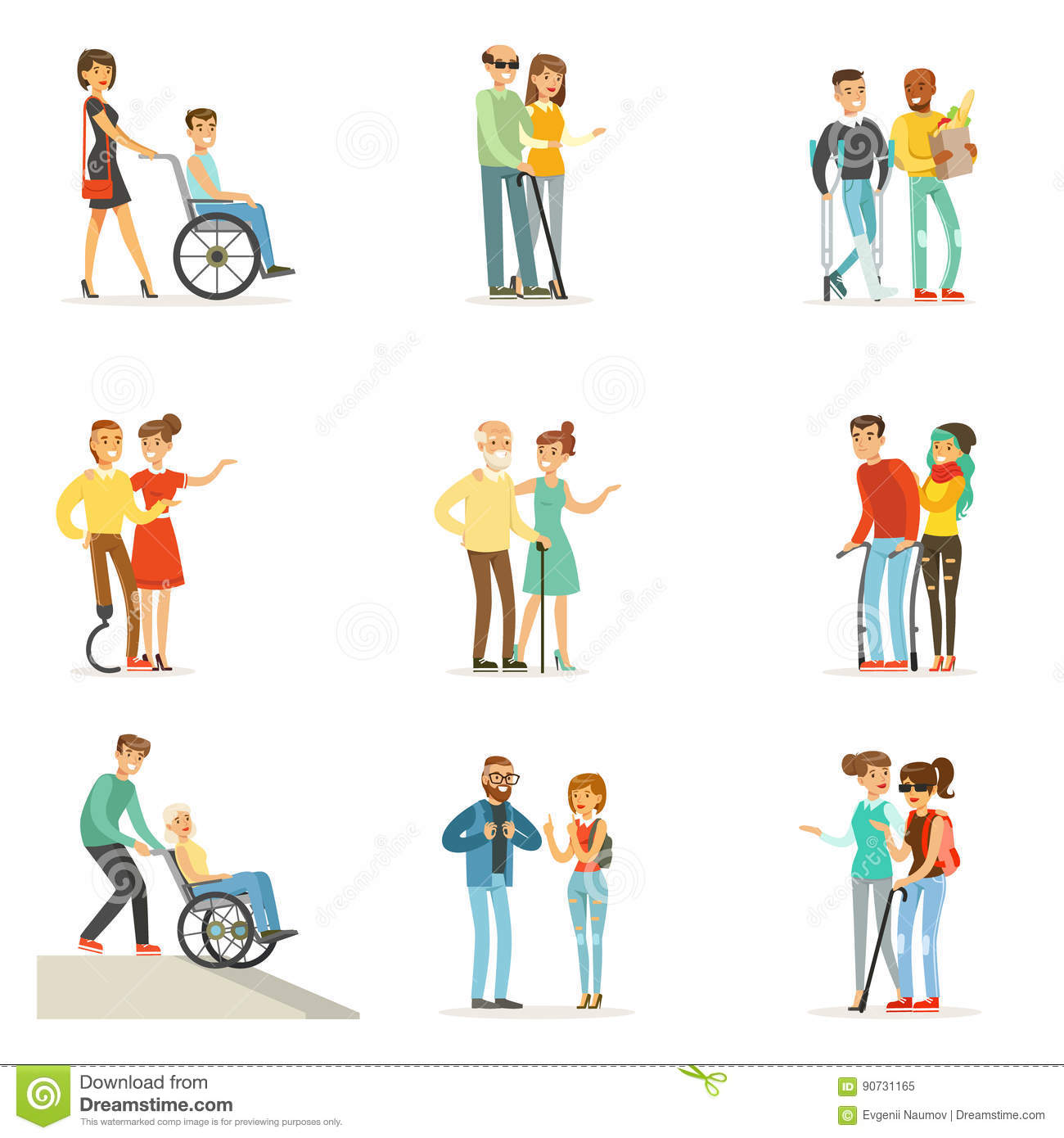 Help and care for disabled people set for label design House plans for disabled people