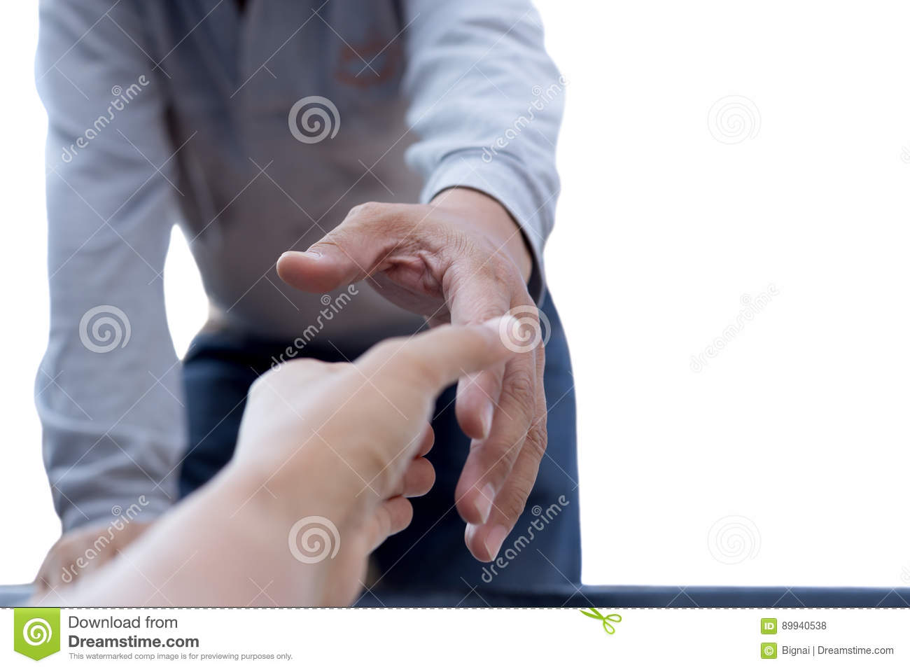 Help concept man reaching to help isolated