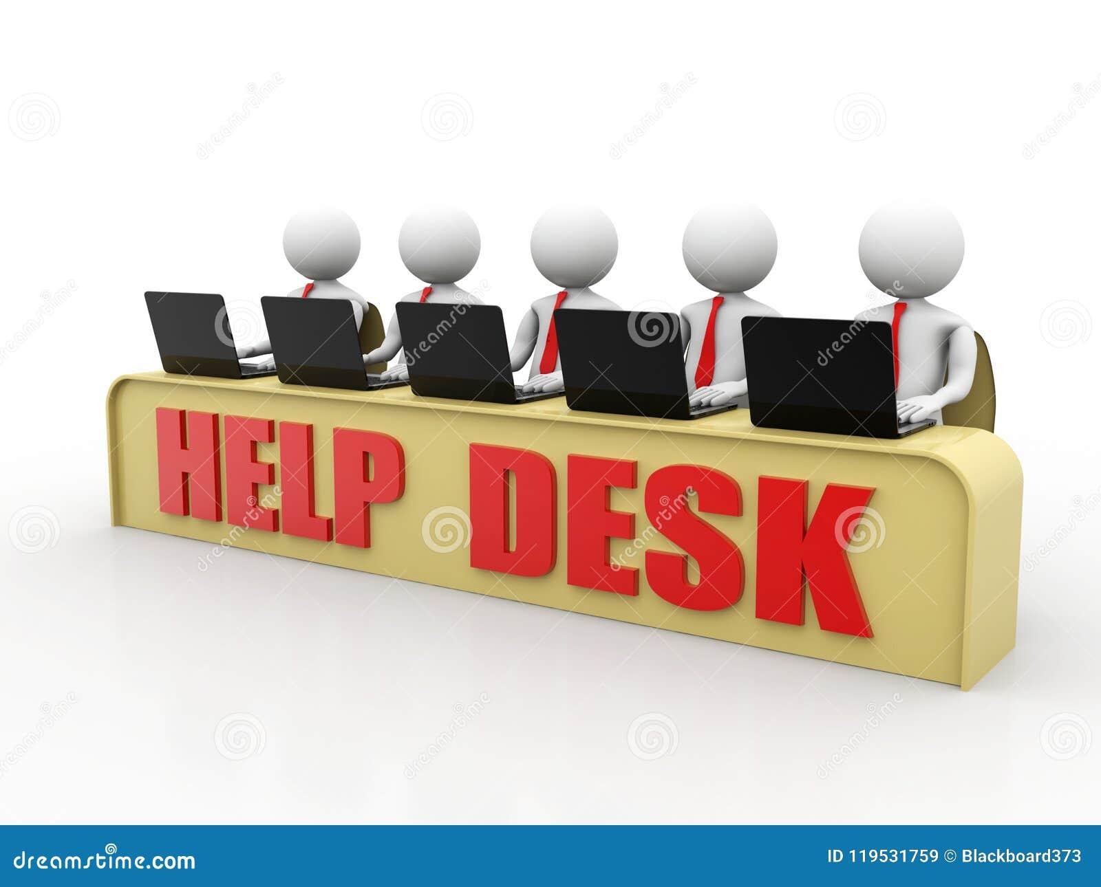 Help Desk Concept, 3D little human character in a Call Center. 3d render