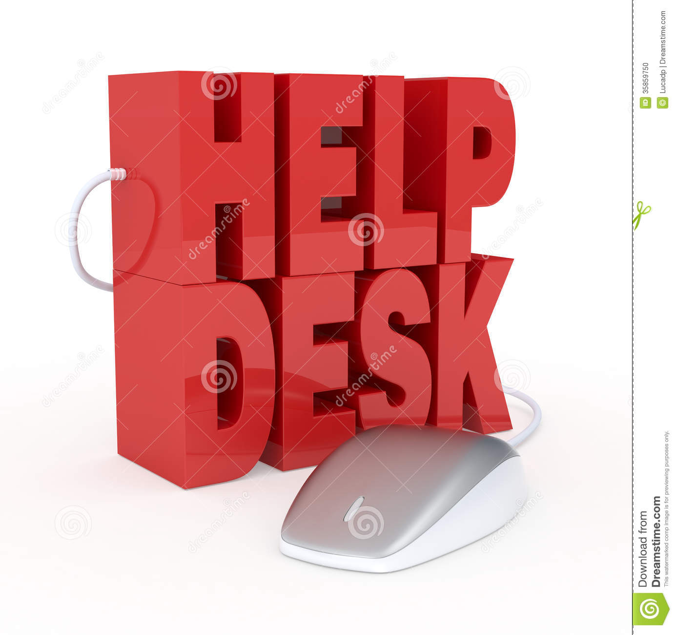 The text: help desk, with a computer mouse, concept of online