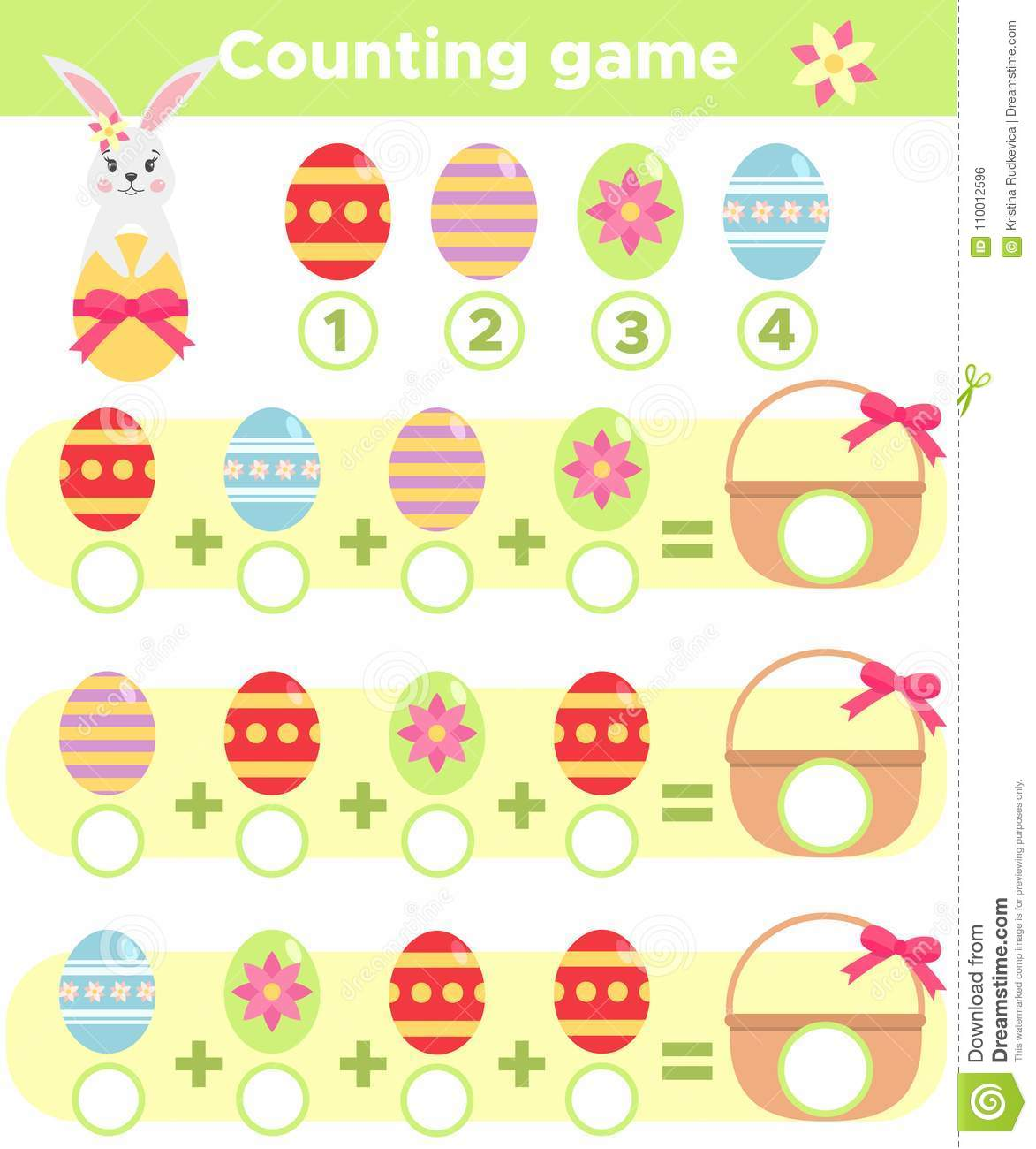 Counting Spring Game For Children Stock Vector - Illustration of ...