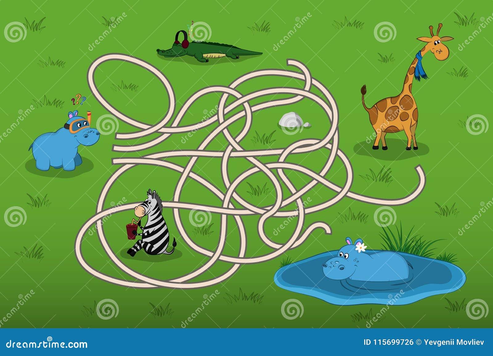 Help kleine hippo om moeder in het labyrint te vinden Jong geitje` s spel: de correcte manier zoek Dieren van dierentuin