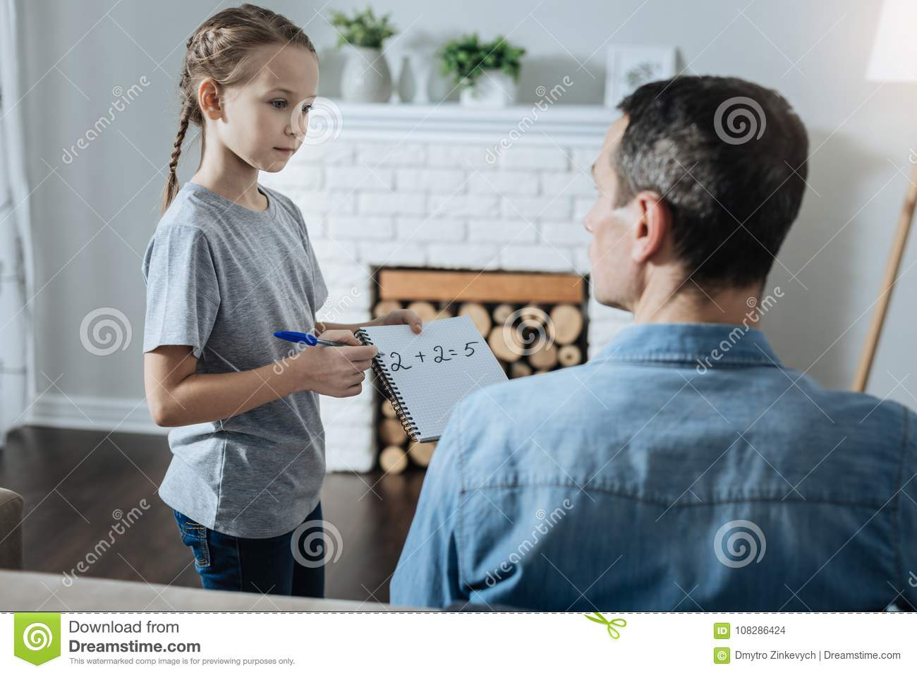 Lovely Girl Asking Her Day Help Her With Math Stock Photo - Image of ...