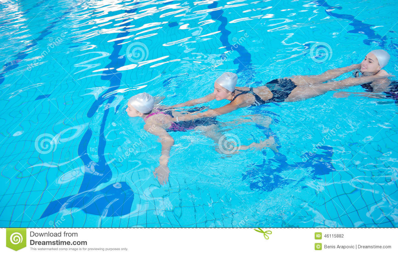Swimming Pool Action : Help and rescue on swimming pool stock photography