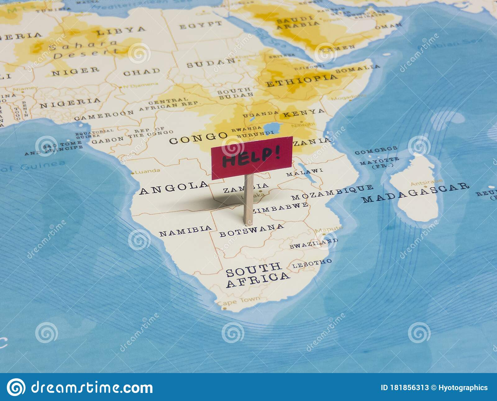 Picture of: Help Sign With Pole On Botswana Of The World Map Stock Image Image Of Corona Food 181856313