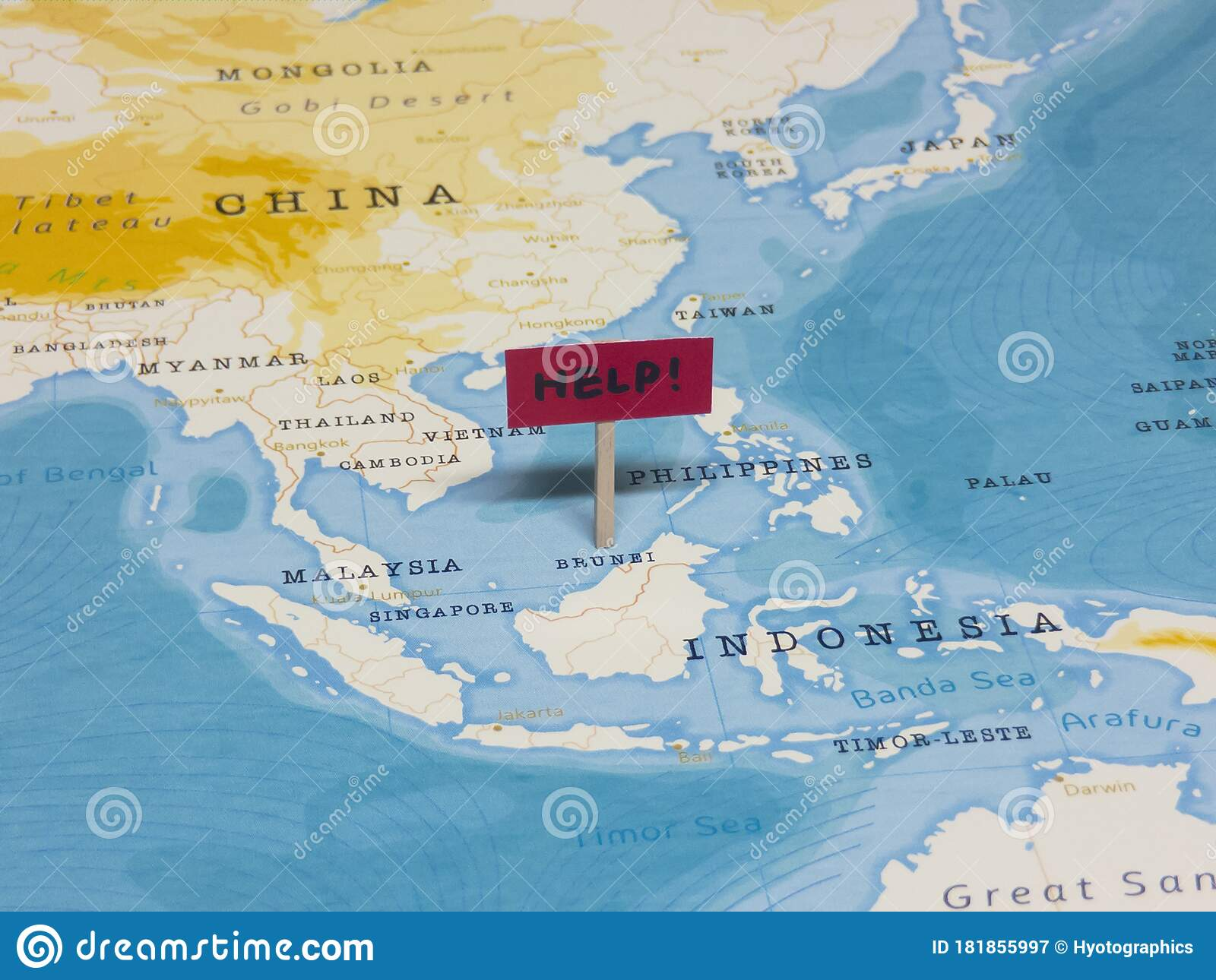 Help Sign With Pole On Brunei Of The World Map Stock Image Image Of Critical Collapse 181855997