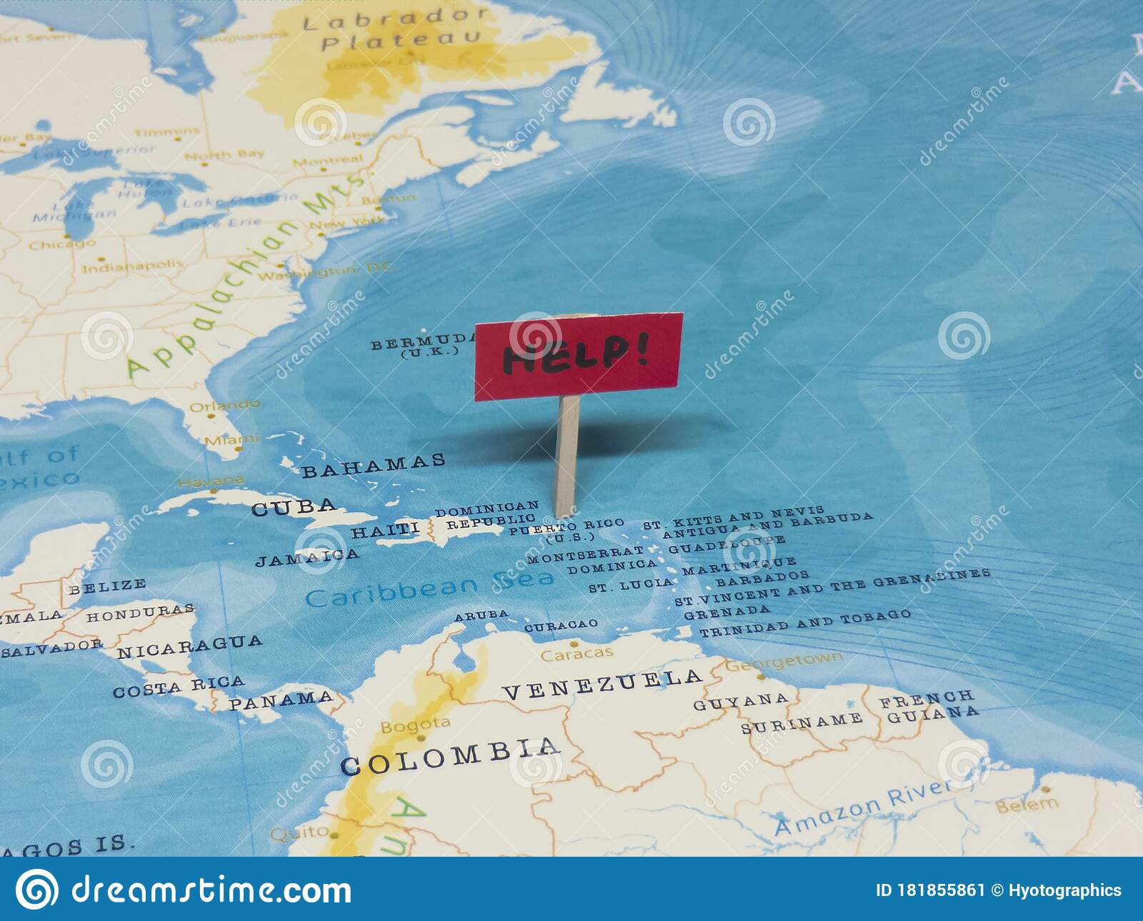 Picture of: Help Sign With Pole On Puerto Rico Of The World Map Stock Image Image Of Crisis Infection 181855861