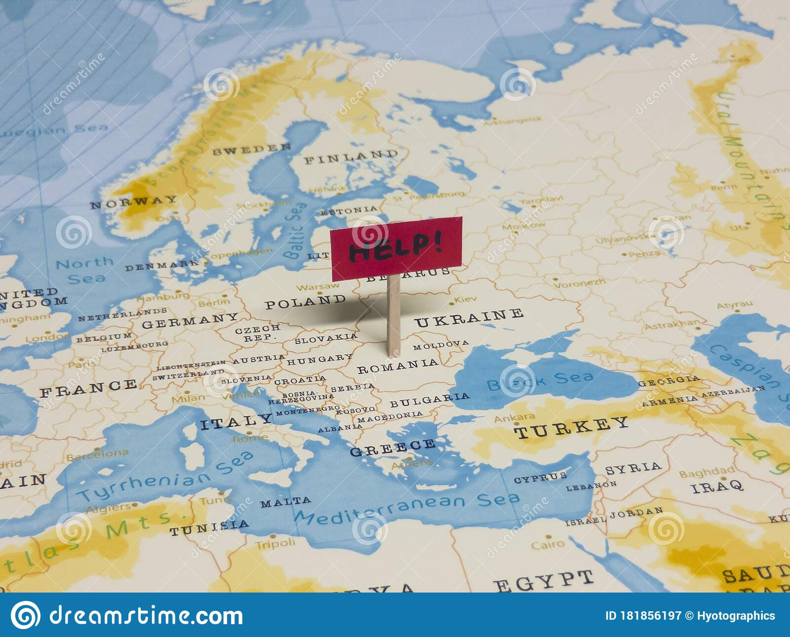 Help Sign With Pole On Romania Of The World Map Stock Image Image Of Contagion Assistance 181856197