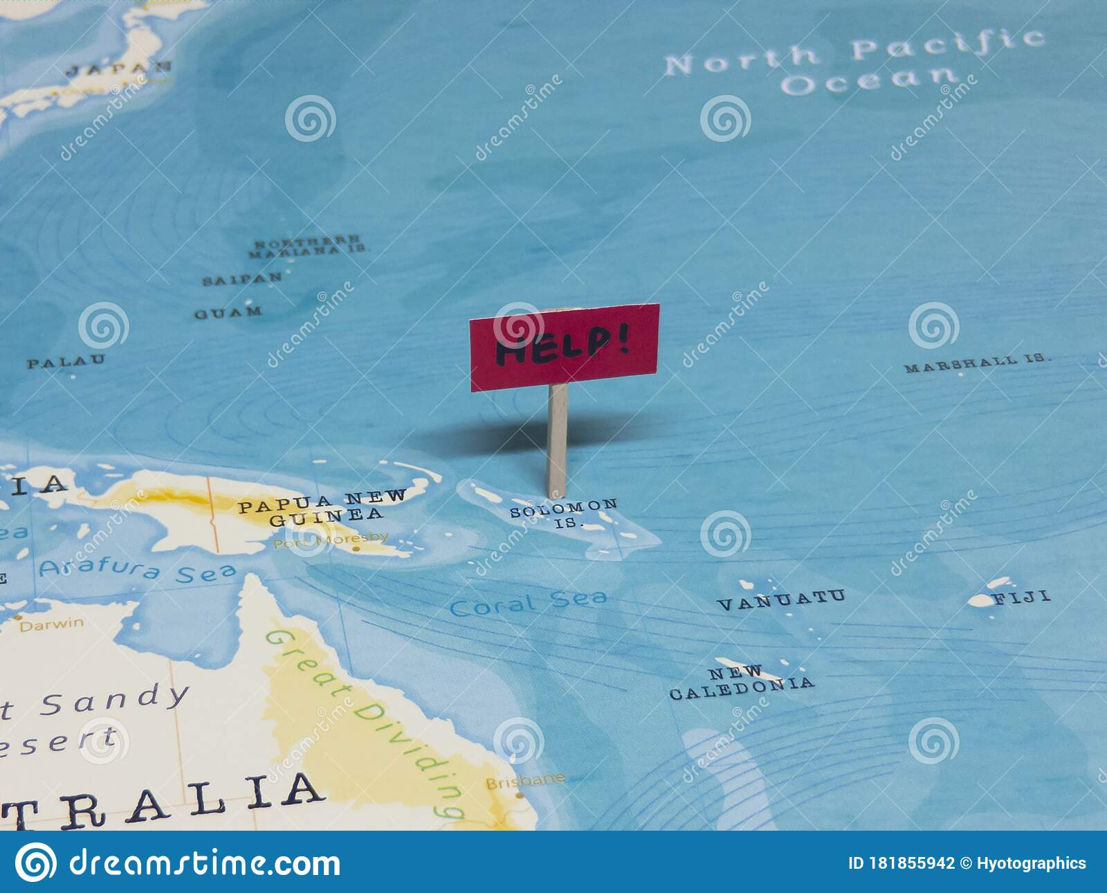 Image of: Help Sign With Pole On Solomon Islands Of The World Map Stock Photo Image Of Economic Crime 181855942