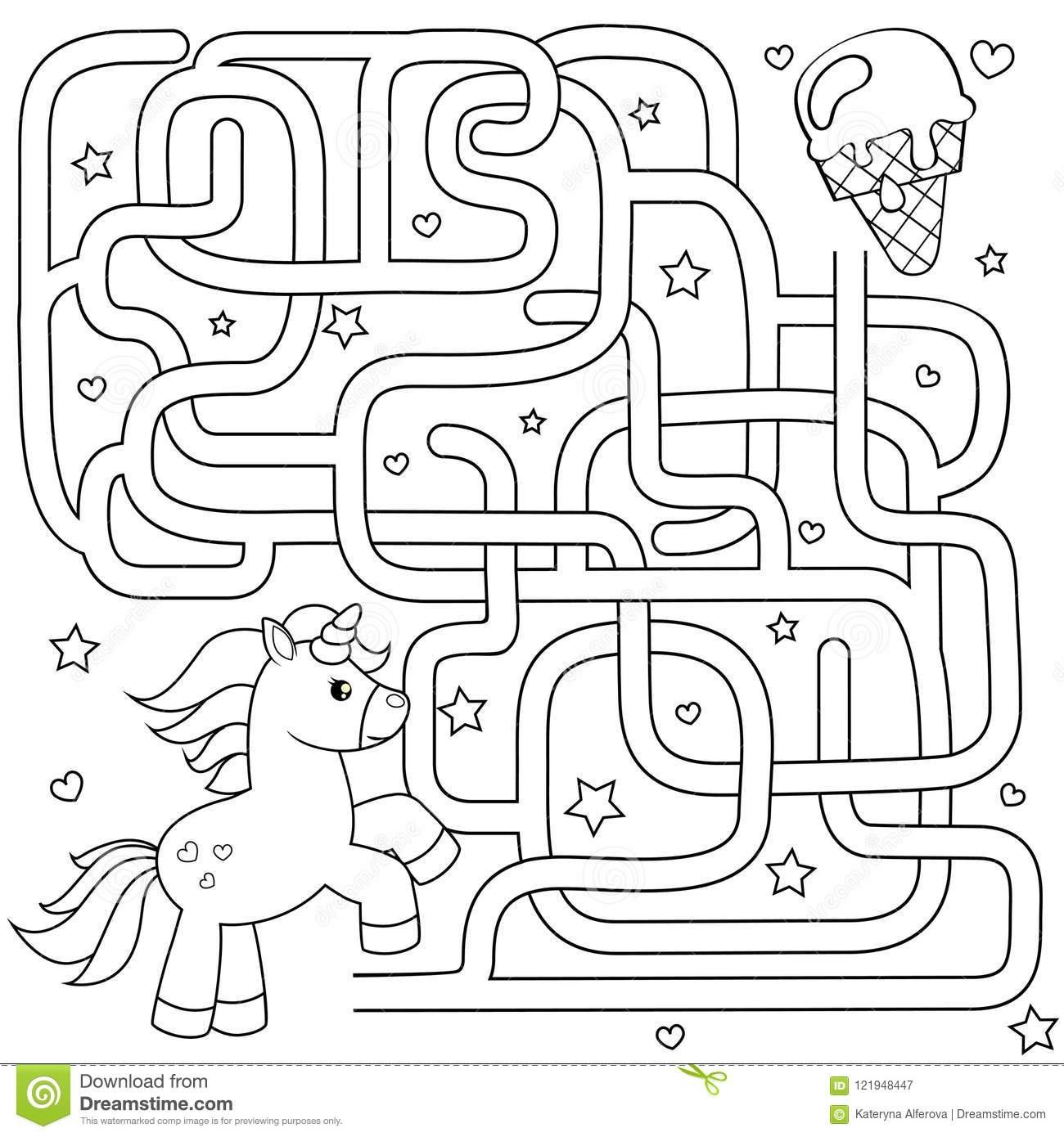 Help Unicorn Find Path To Ice Cream  Labyrinth  Maze Game