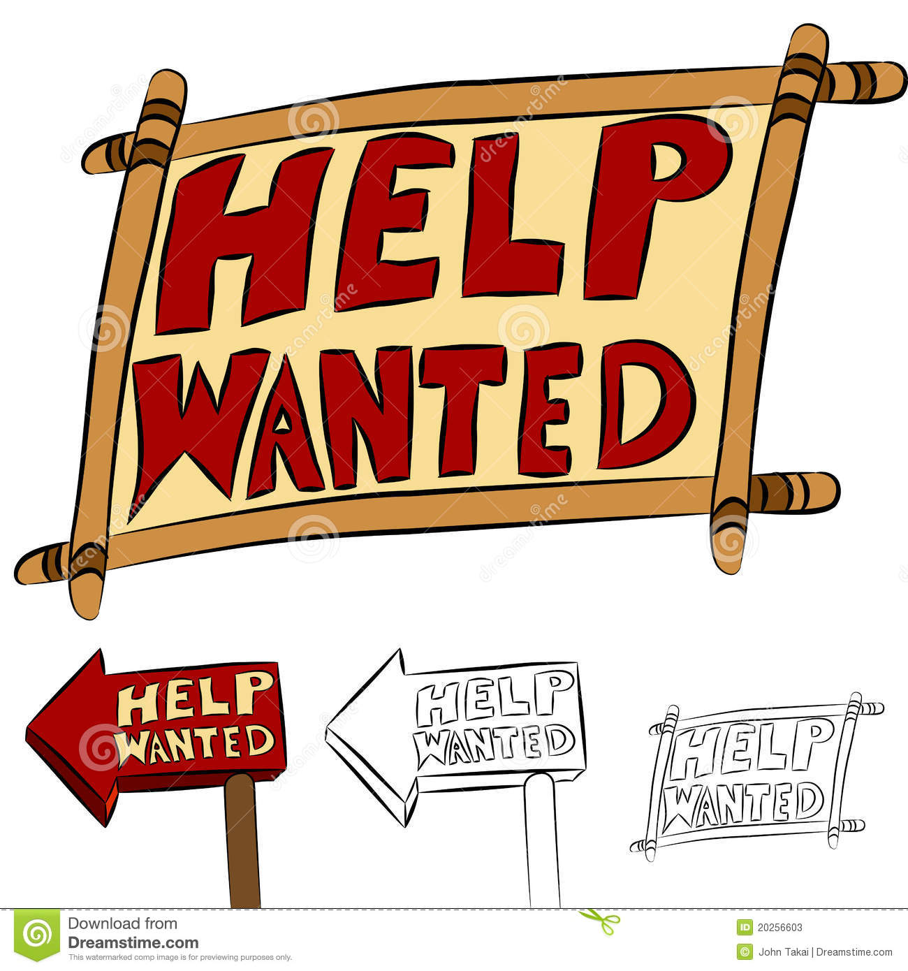 Help Wanted Sign Set stock vector. Illustration of cartoon ...