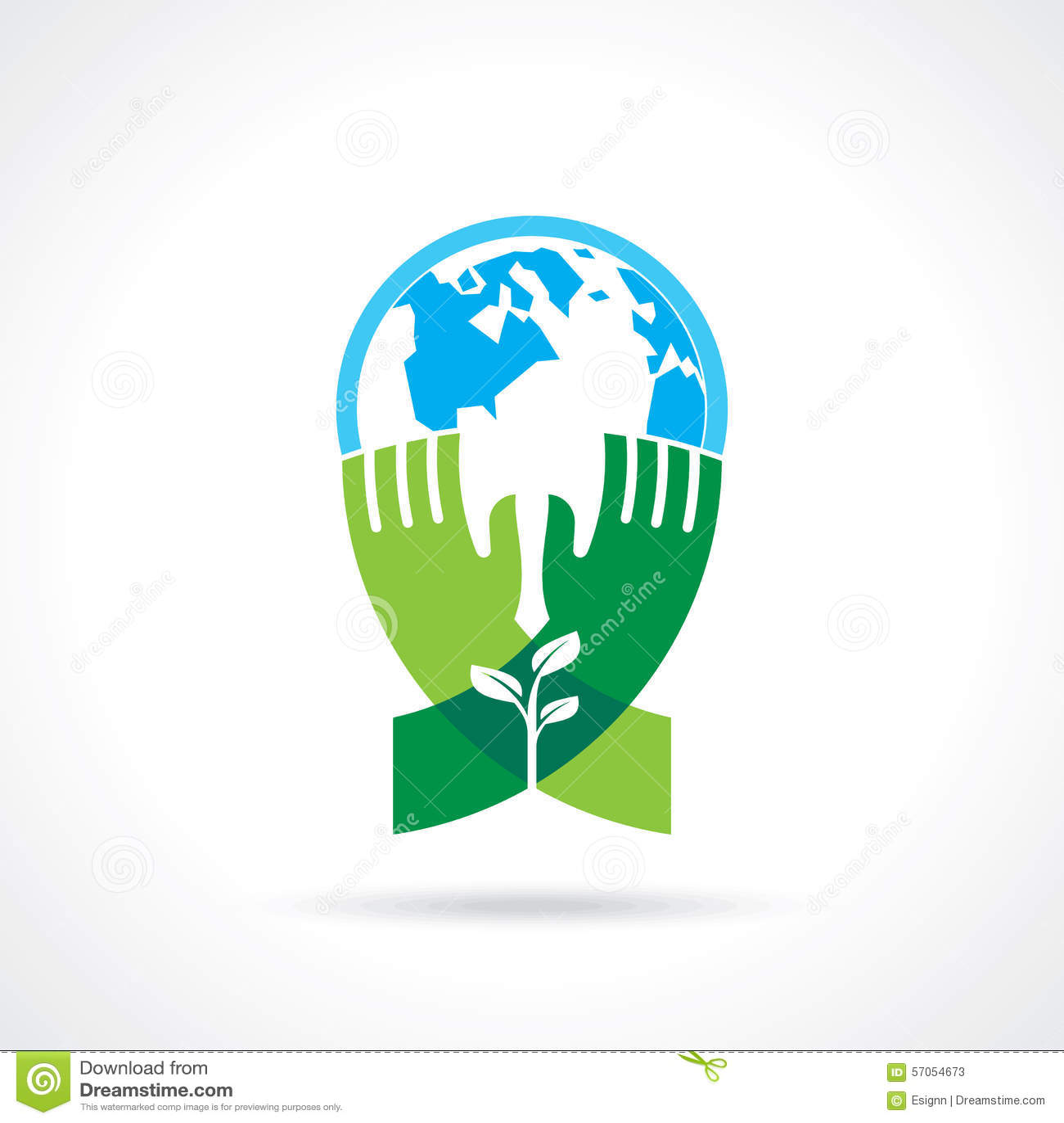 Helpend hand boom ter wereld maken - vectorillustratie