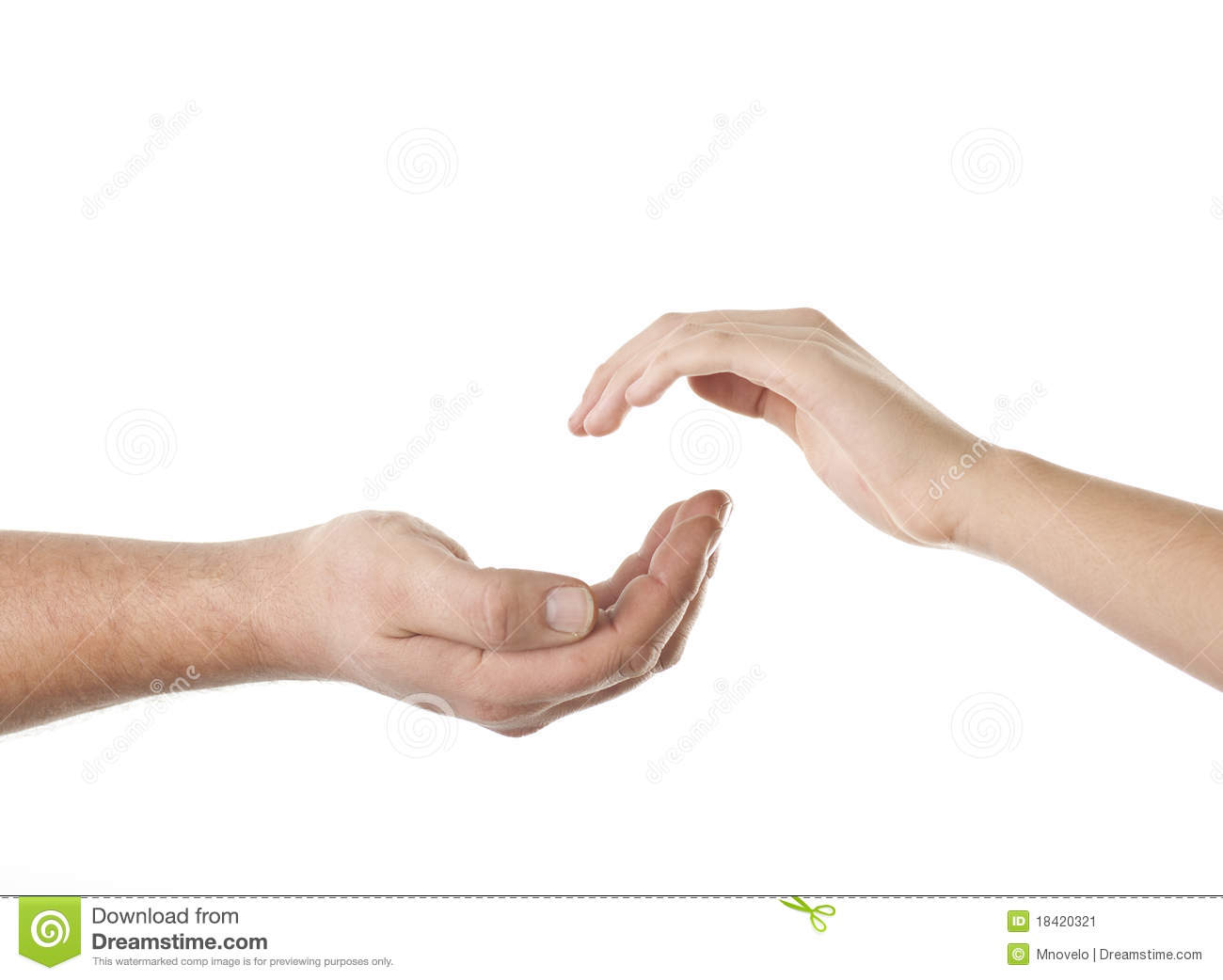 Helping hand, male hand takes young female hand.