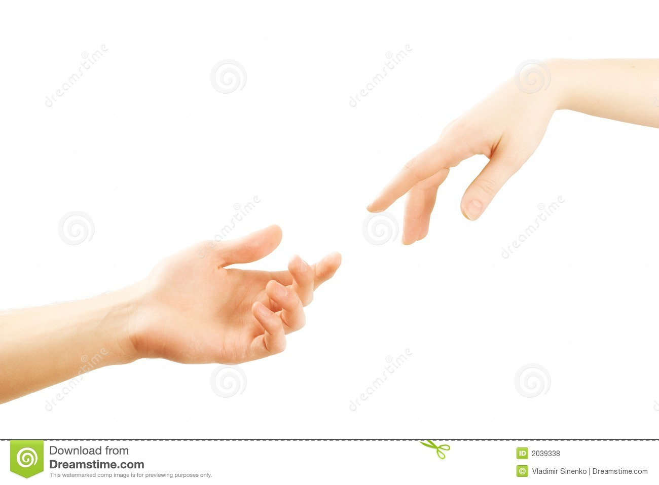 Male and female hands reaching for each other. Isolation on a white ...