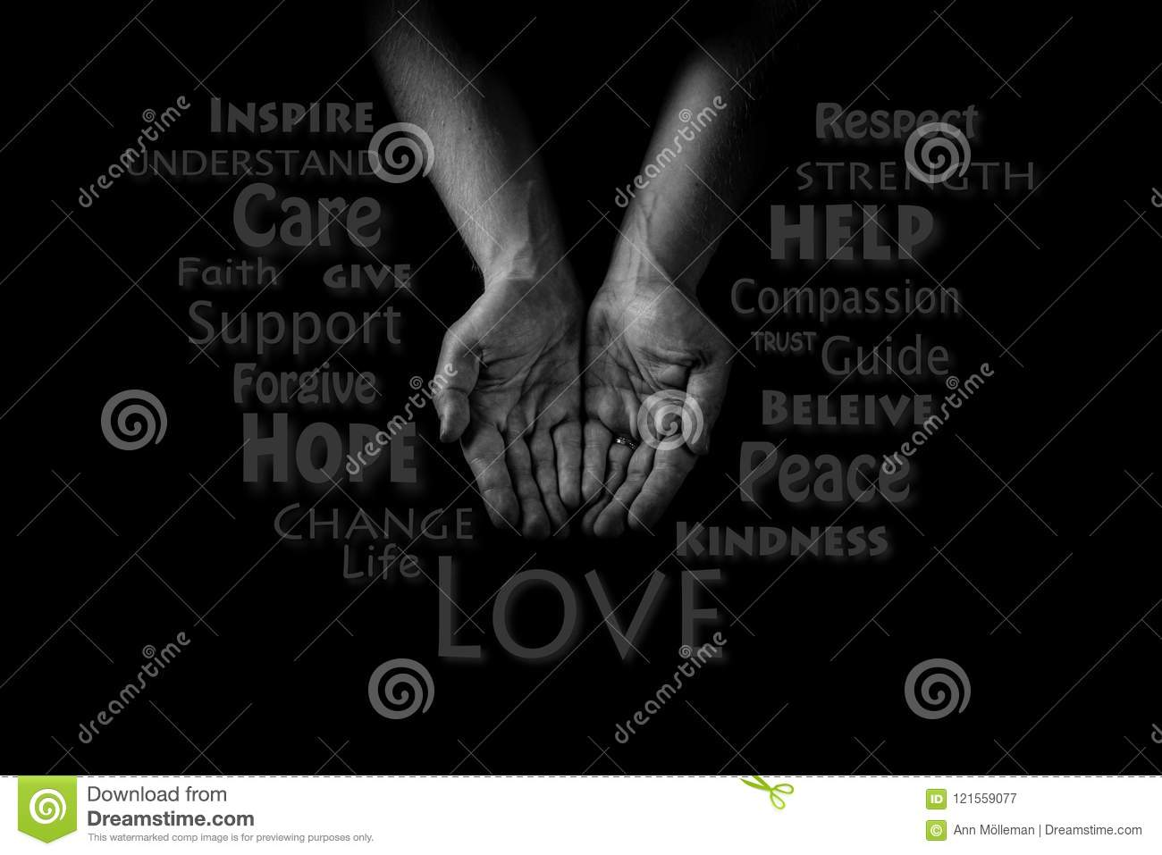 Helping hand concept. Man`s hands palms up, giving care love and support. Word cloud.