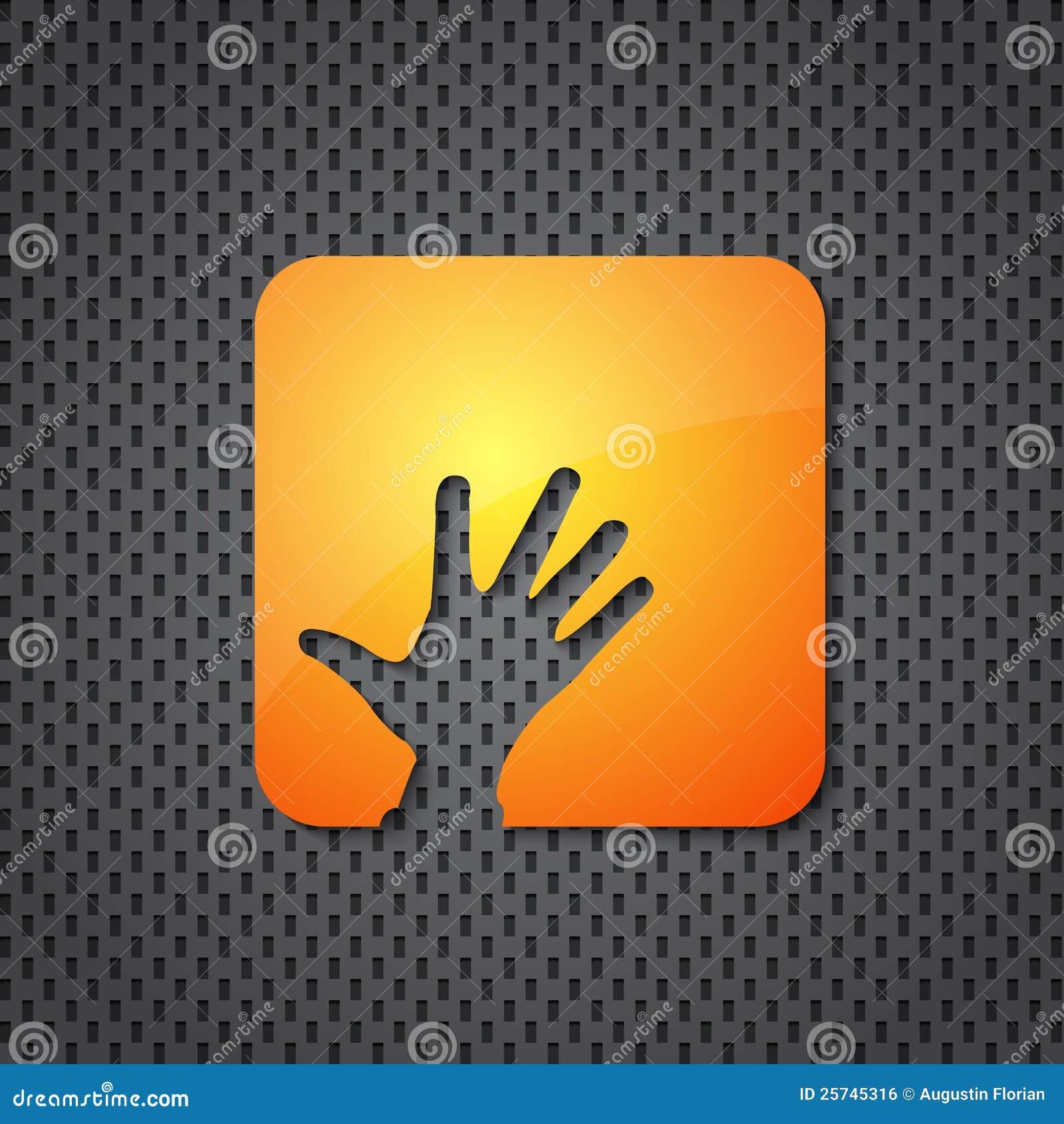 Helping hand orange icon