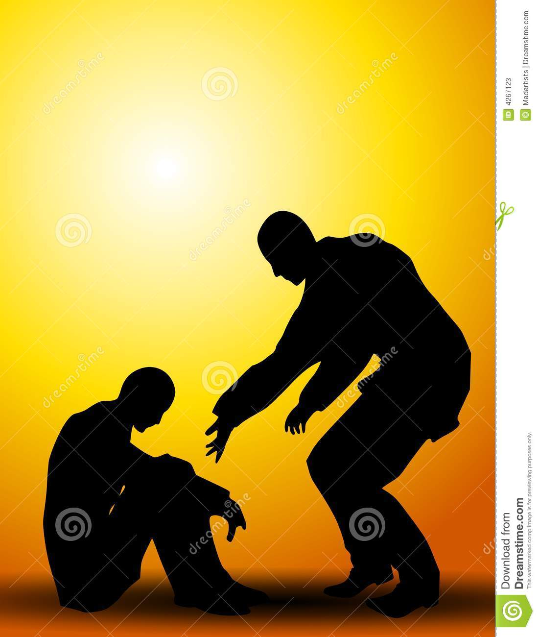 An illustration featuring 2 people as silhouettes set against sunset ...