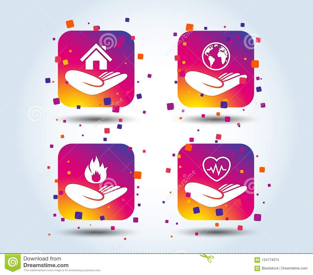 Helping Hands Icons  Protection And Insurance  Stock Vector
