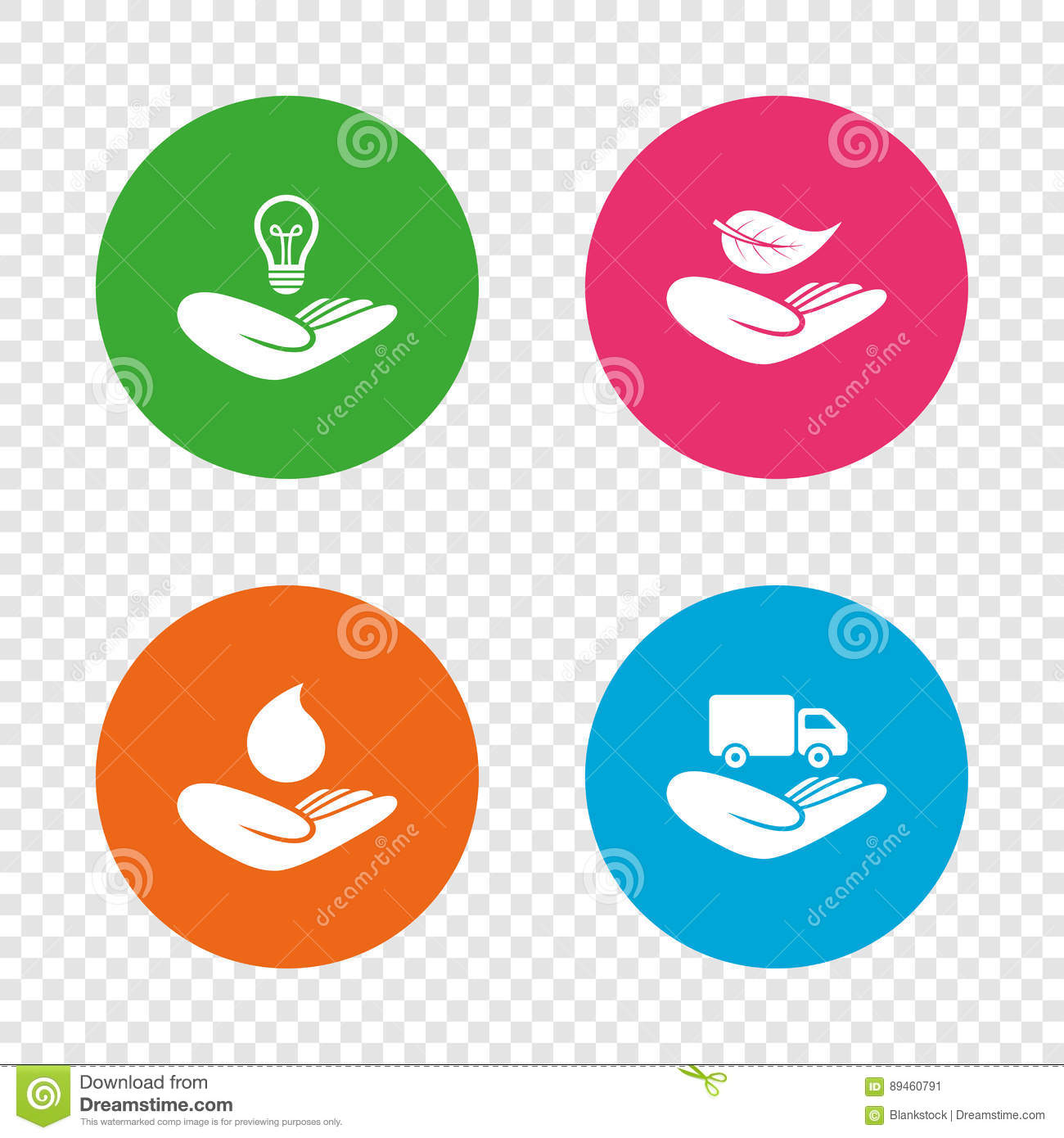 Intellectual Property Icon: Helping Hands Icons. Protection And Insurance. Stock