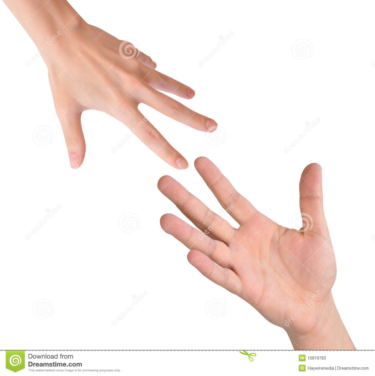 Helping Hands Reaching On White Stock Photos - Image: 15819783