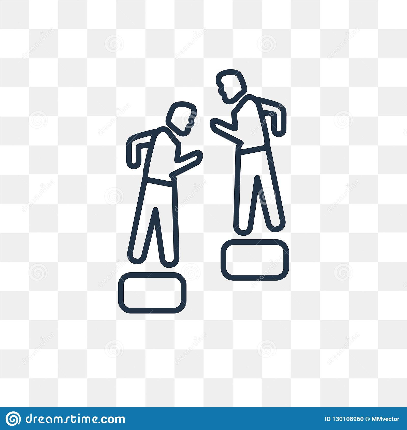 Helping a Man to Climb vector icon isolated on transparent background, linear Helping a Man to Climb transparency concept can be