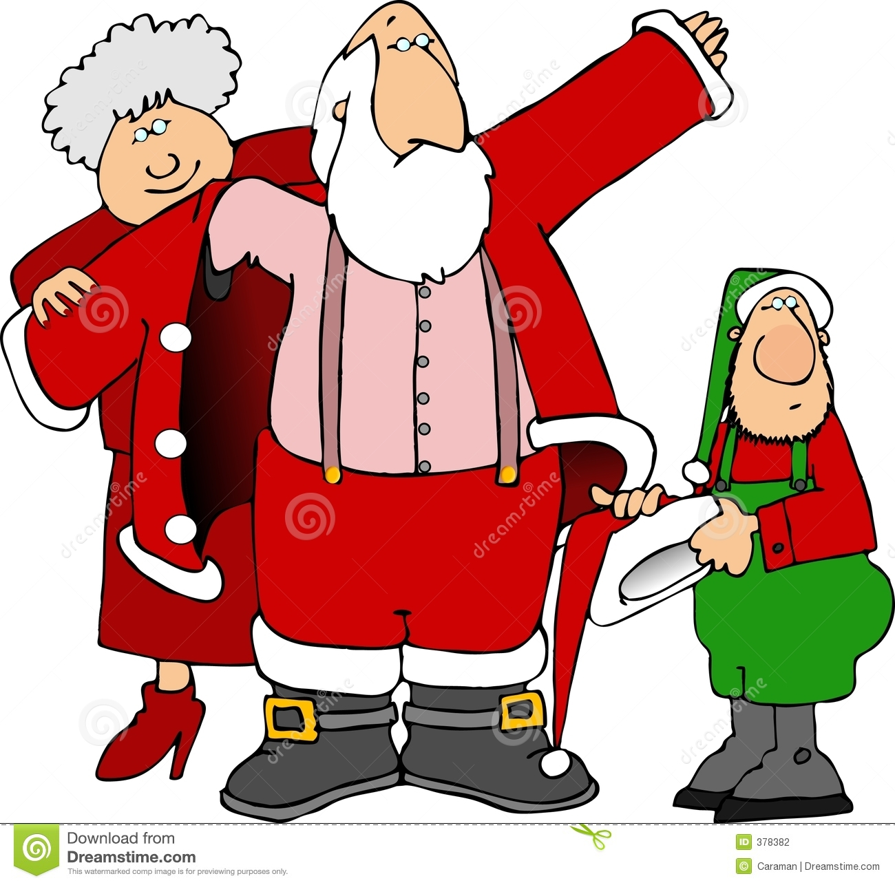 Illustration depicts mrs claus and an elf helping santa get dressed