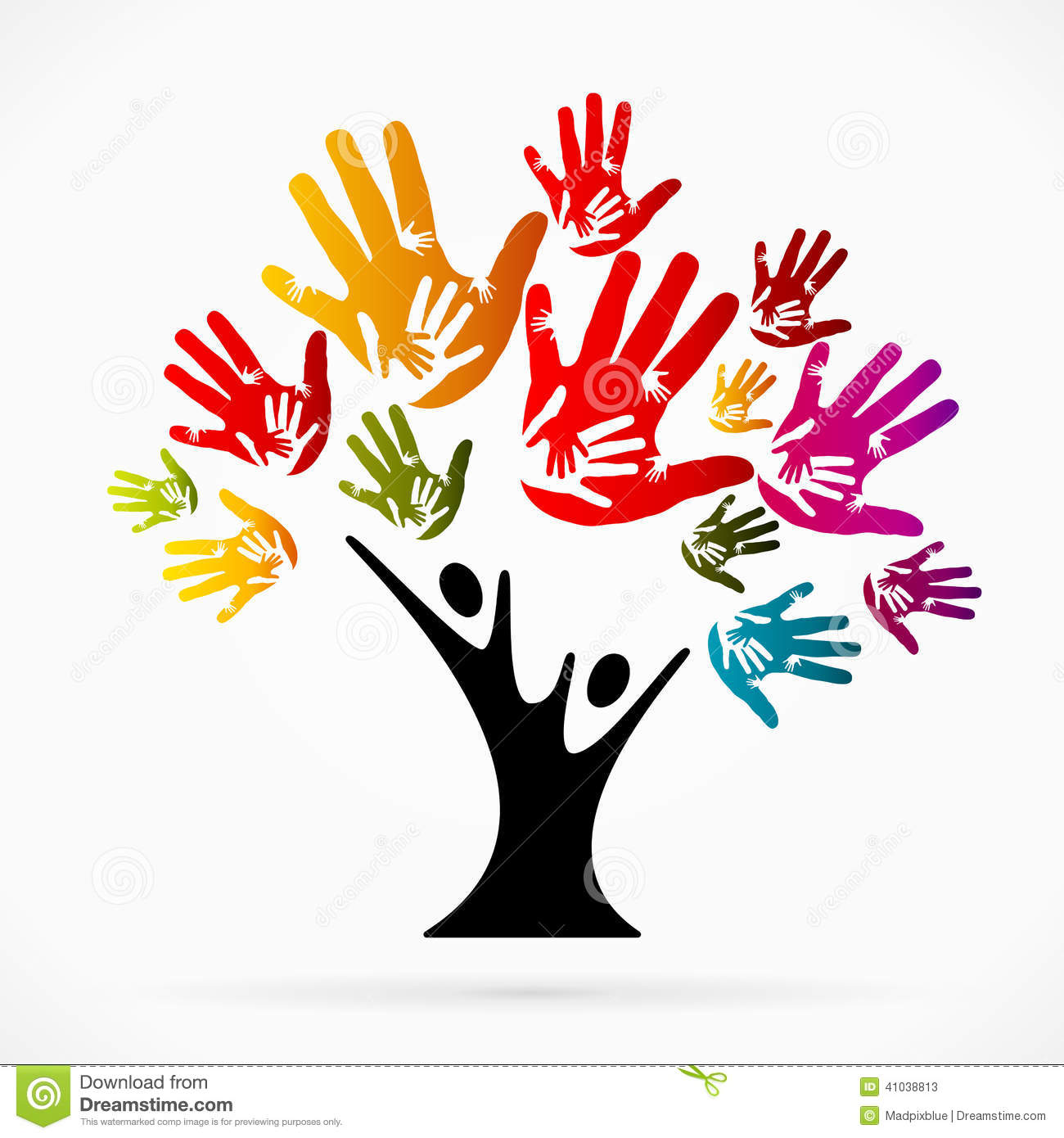 Helping tree stock vector. Image of person, cooperation ...