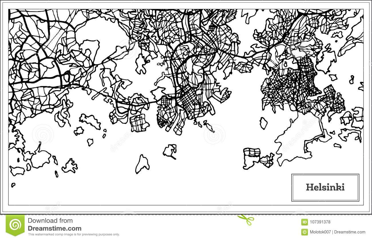 Helsinki Finland City Map In Black And White Color. Stock ...