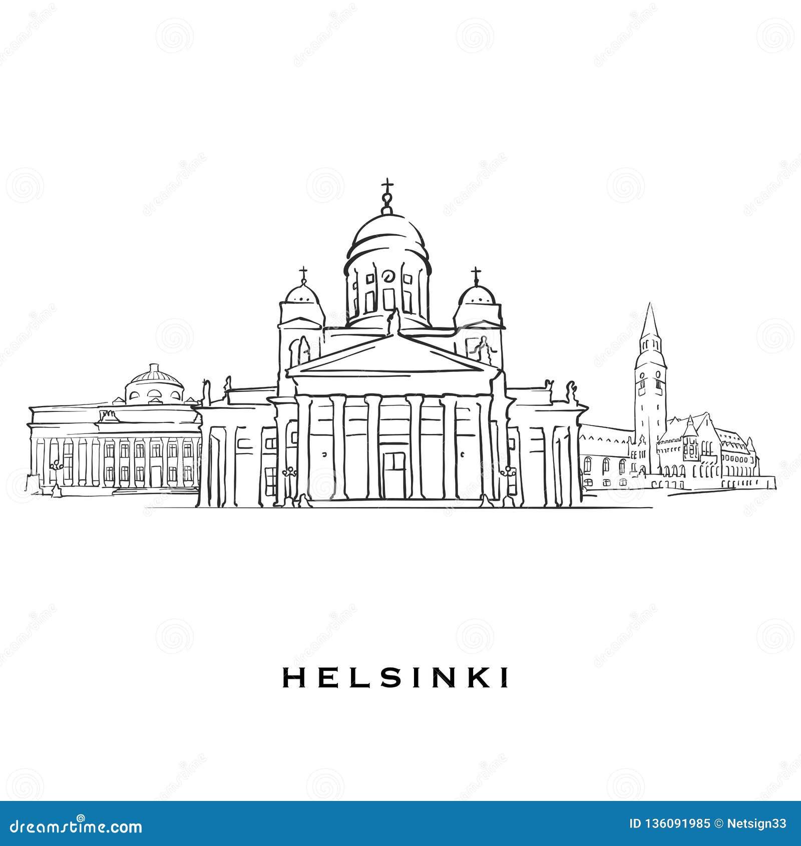 Helsinki Finland Famous Architecture Stock Vector - Illustration of