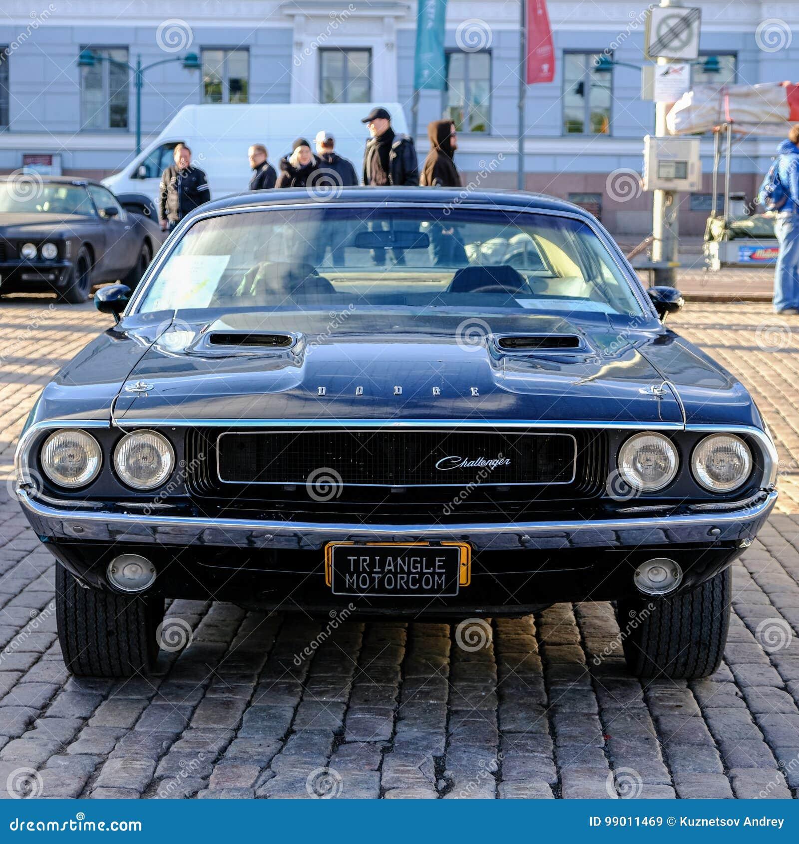 Helsinki Finland Old Car Dodge Challenger Editorial Stock Image