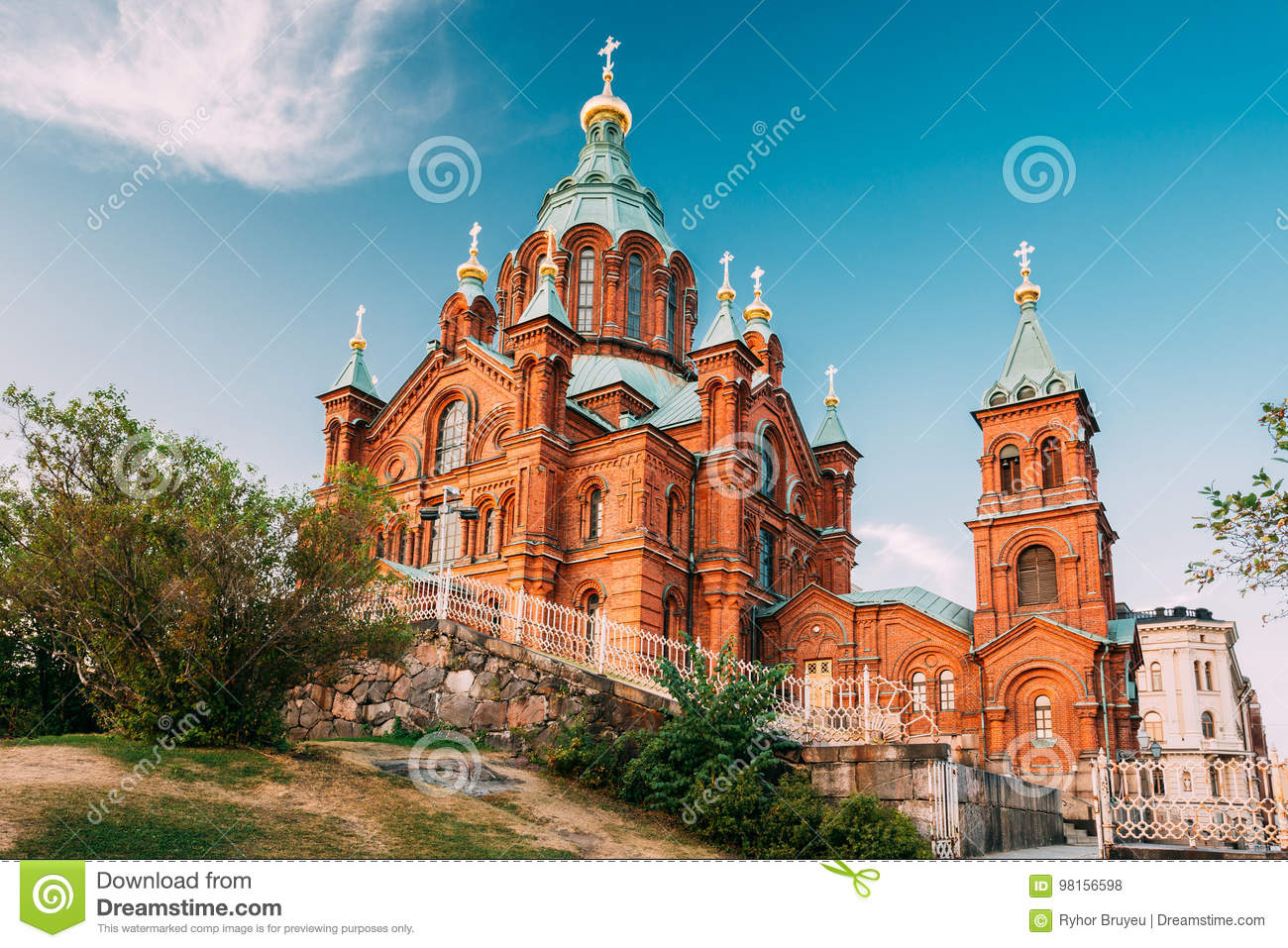 Helsinki, Finland. Uspenski Orthodox Cathedral Upon Hillside On Katajanokka Peninsula Overlooking City
